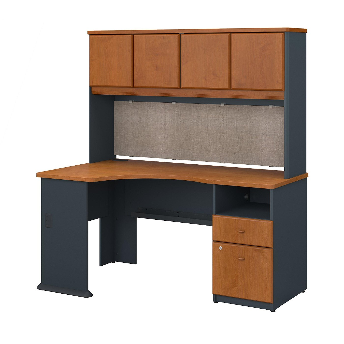BUSH BUSINESS FURNITURE SERIES A 60W CORNER DESK WITH HUTCH AND 2 DRAWER PEDESTAL. FREE SHIPPING.
