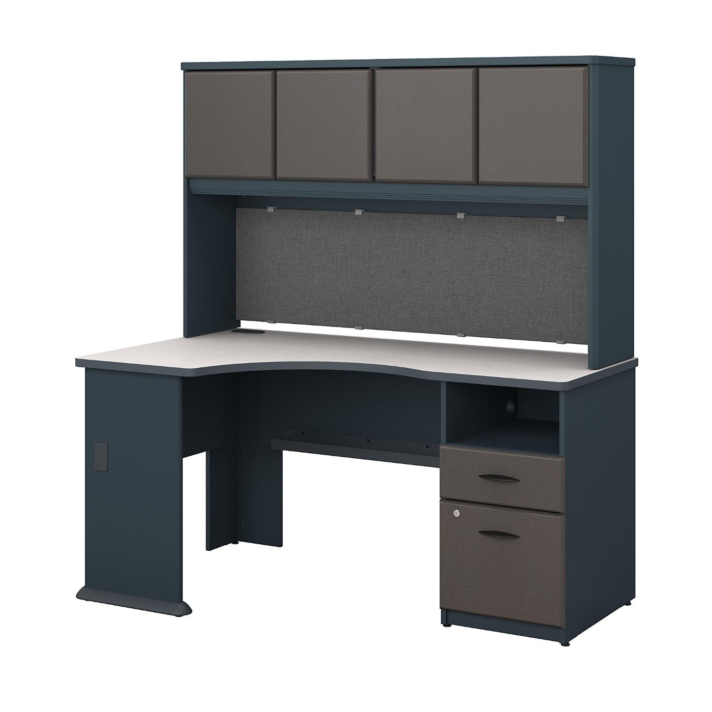 <font color=#c60><b>BUSH BUSINESS FURNITURE SERIES A 60W CORNER DESK WITH HUTCH AND 2 DRAWER PEDESTAL. FREE SHIPPING</font></b></font>