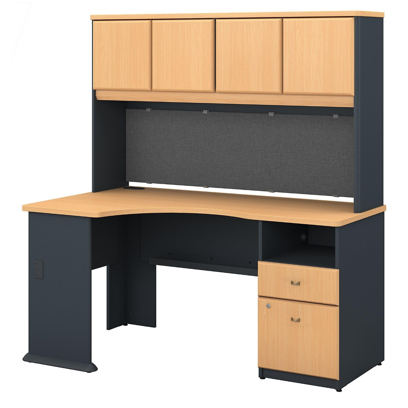<font color=#c60><b>BUSH BUSINESS FURNITURE SERIES A 60W CORNER DESK WITH HUTCH AND 2 DRAWER PEDESTAL #EH-SRA007BE. FREE SHIPPING</font></b>