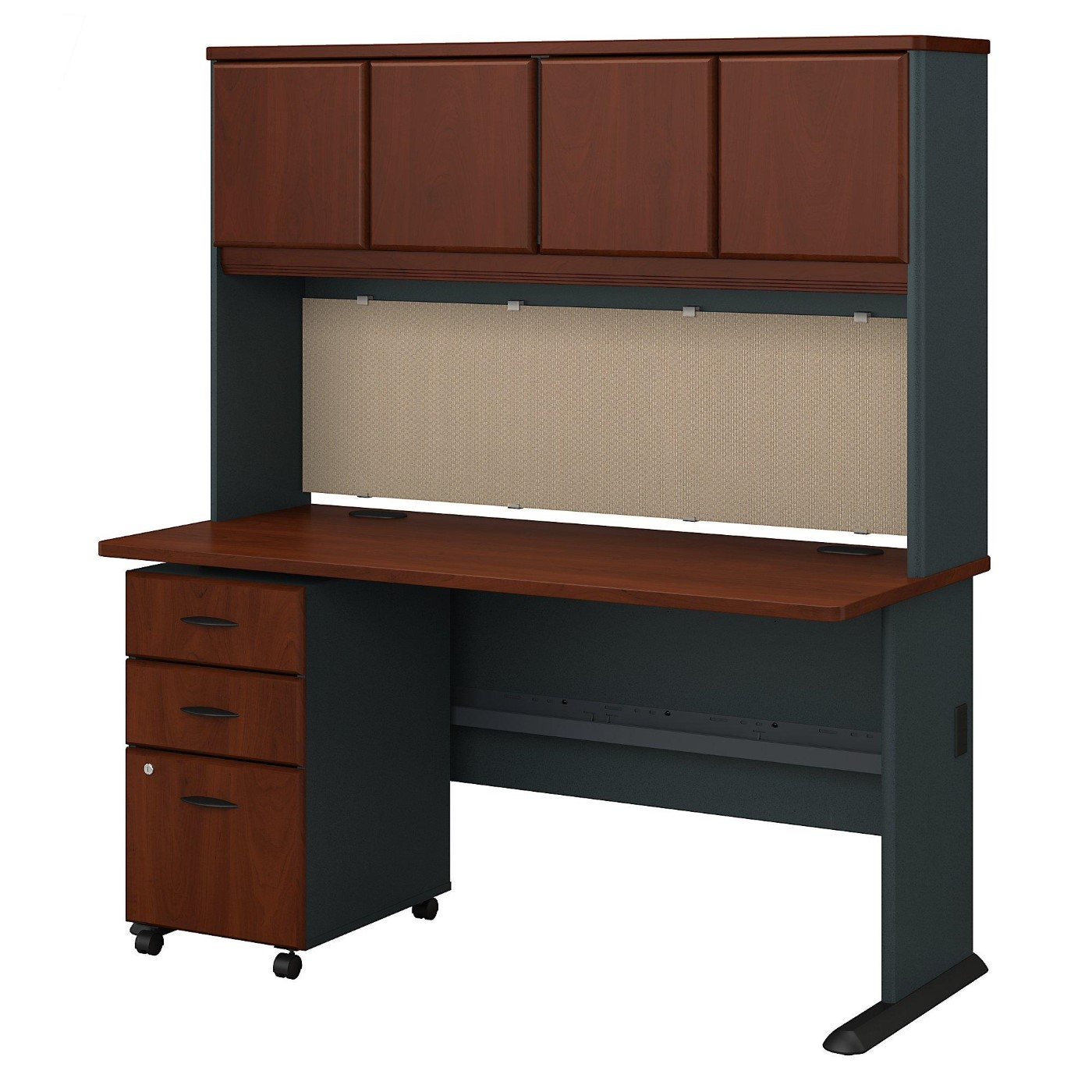 BUSH BUSINESS FURNITURE SERIES A 60W DESK WITH HUTCH AND MOBILE FILE CABINET. FREE SHIPPING.