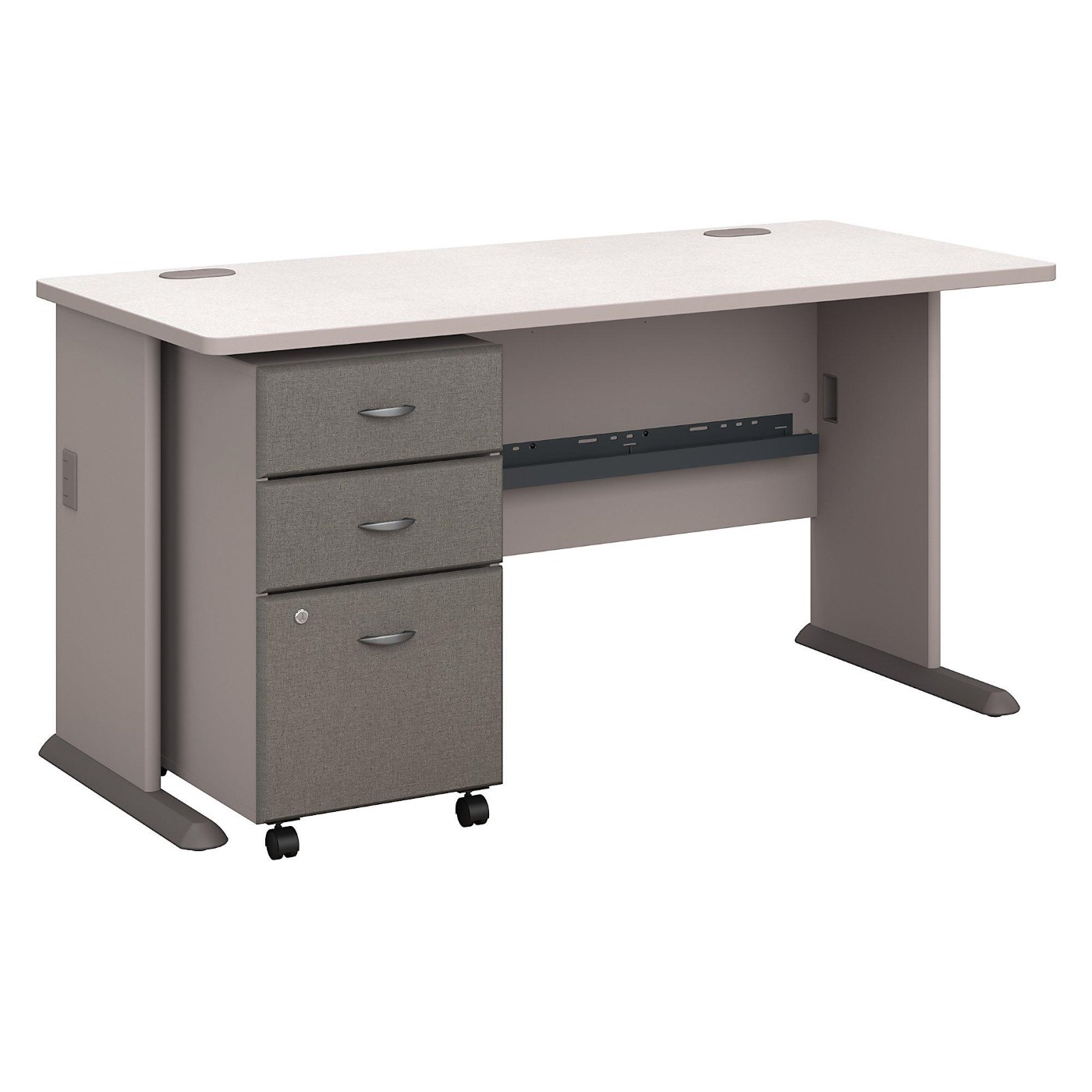 BUSH BUSINESS FURNITURE SERIES A 60W DESK WITH MOBILE FILE CABINET. FREE SHIPPING.