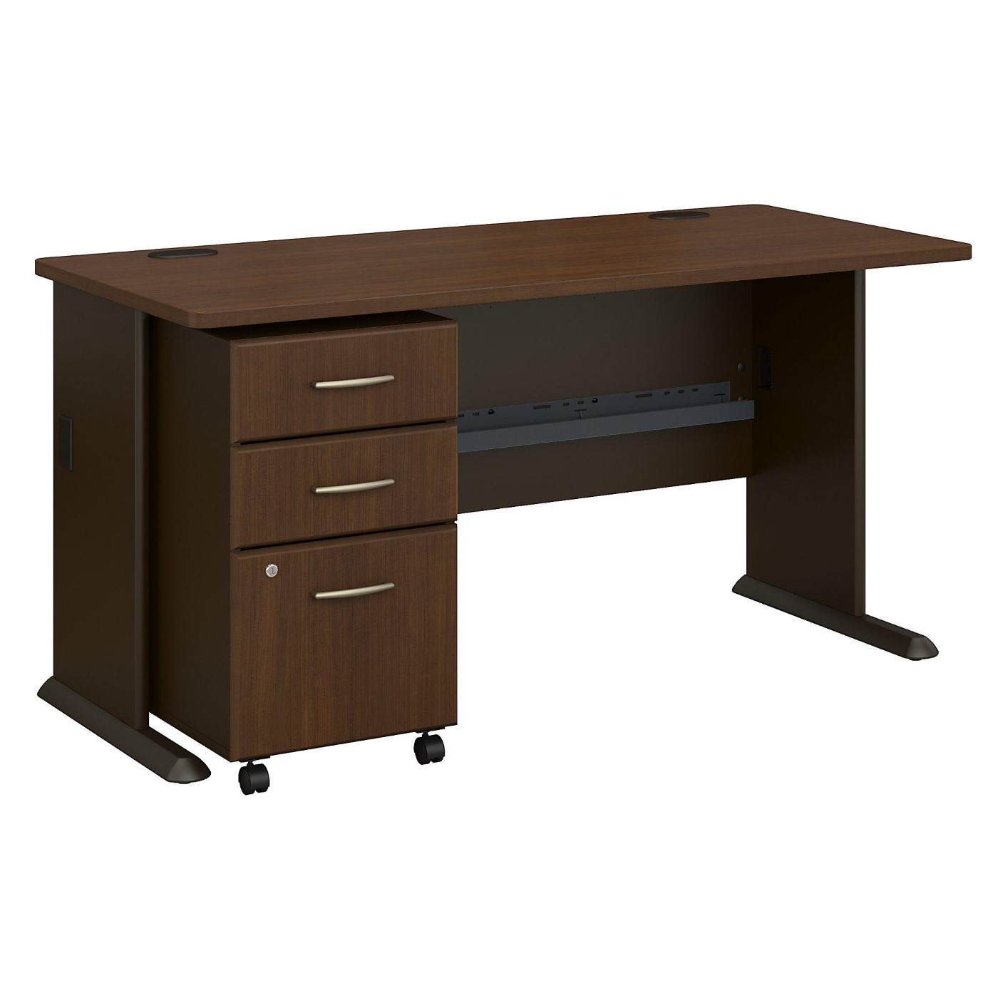 <font color=#c60><b>BUSH BUSINESS FURNITURE SERIES A 60W DESK WITH MOBILE FILE CABINET. FREE SHIPPING</font></b>