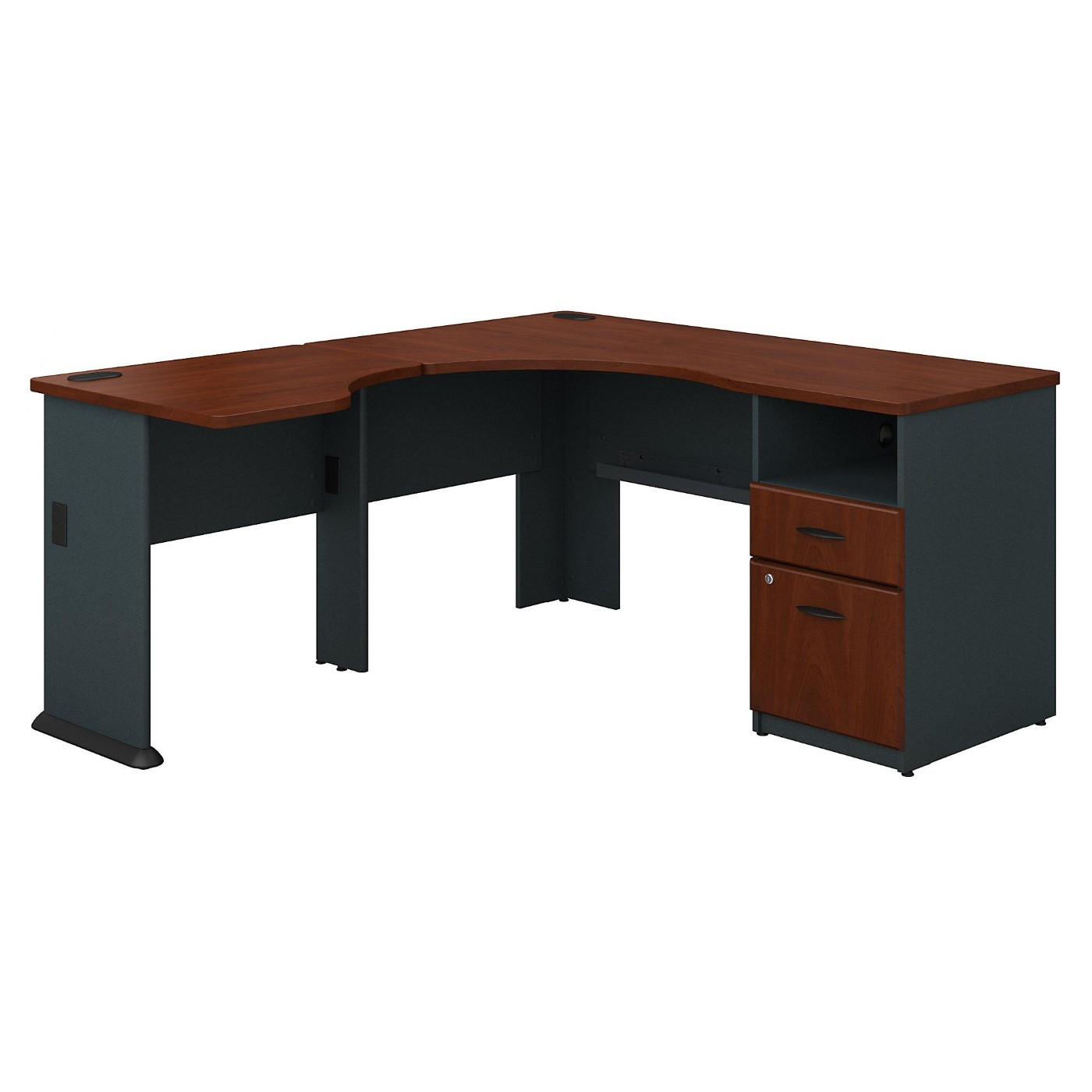 <font color=#c60><b>BUSH BUSINESS FURNITURE SERIES A 60W L SHAPED CORNER DESK WITH 2 DRAWER PEDESTAL AND 30W BRIDGE. FREE SHIPPING</font></b></font></b>