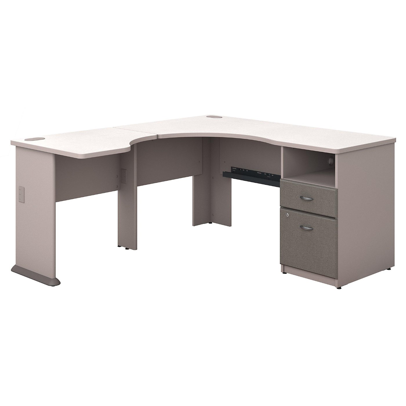 <font color=#c60><b>BUSH BUSINESS FURNITURE SERIES A 60W L SHAPED CORNER DESK WITH 2 DRAWER PEDESTAL AND 30W BRIDGE. FREE SHIPPING</font></b>