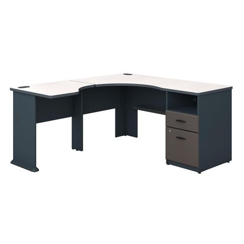 BUSH BUSINESS FURNITURE SERIES A 60W L SHAPED CORNER DESK WITH 2 DRAWER PEDESTAL AND 30W BRIDGE. FREE SHIPPING.