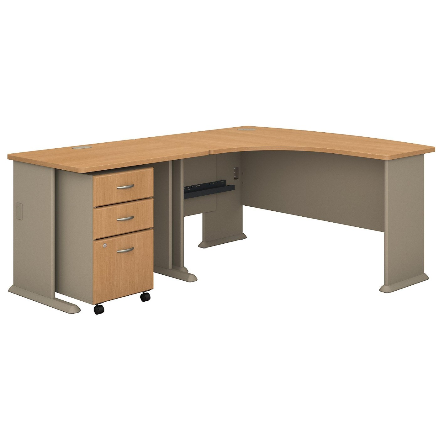 <font color=#c60><b>BUSH BUSINESS FURNITURE SERIES A 60W RIGHT HANDED L SHAPED DESK WITH 36W RETURN AND MOBILE FILE CABINET. FREE SHIPPING</font></b>