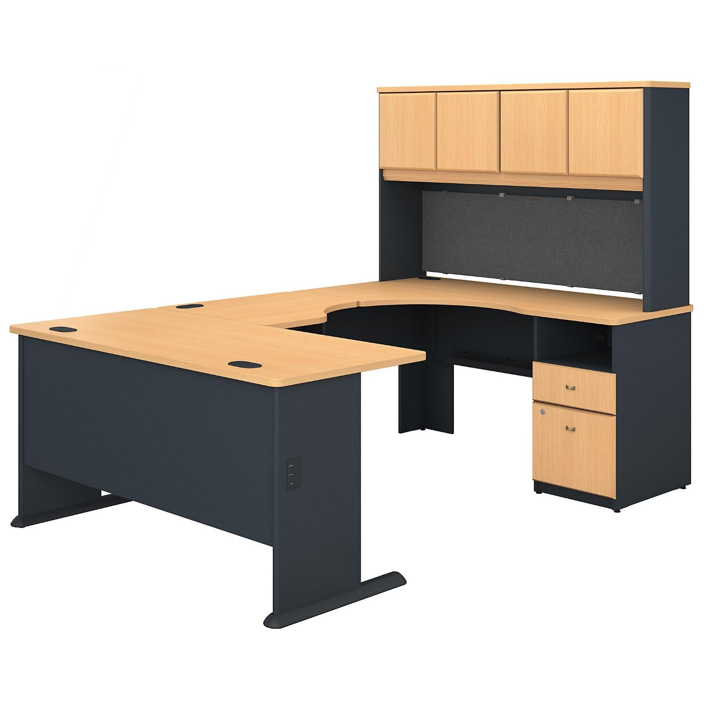 BUSH BUSINESS FURNITURE SERIES A 60W U SHAPED DESK WITH HUTCH AND 2 DRAWER PEDESTAL. FREE SHIPPING  VIDEO BELOW.