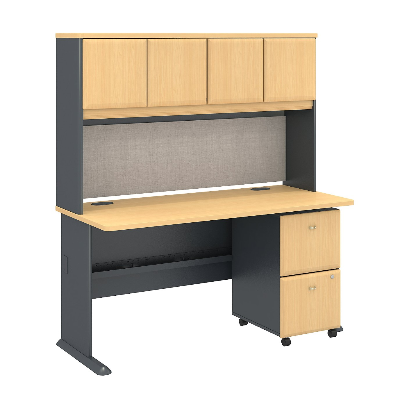 BUSH BUSINESS FURNITURE SERIES A 60W X 27D DESK WITH HUTCH AND 2 DRAWER MOBILE PEDESTAL. FREE SHIPPING SALE DEDUCT 10% MORE ENTER '10percent' IN COUPON CODE BOX WHILE CHECKING OUT.