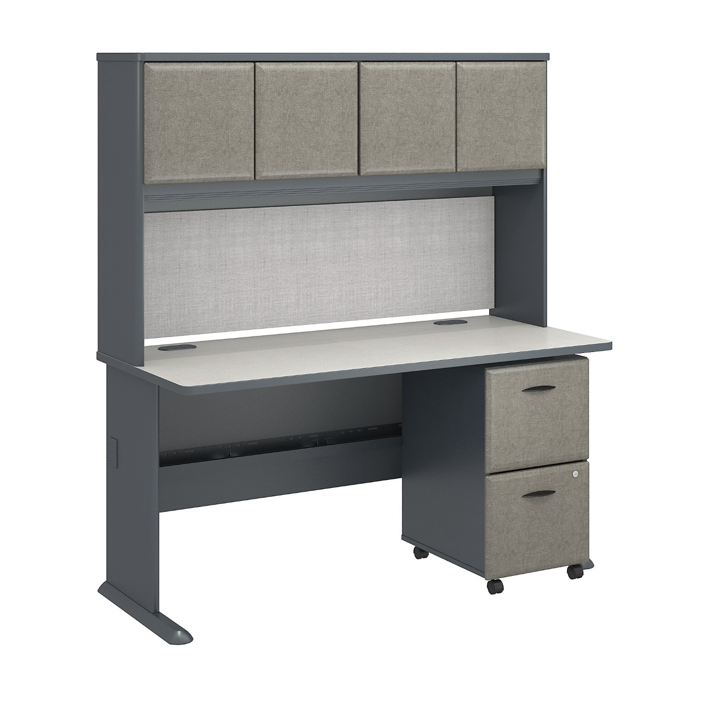 BUSH BUSINESS FURNITURE SERIES A 60W X 27D DESK WITH HUTCH AND 2 DRAWER MOBILE PEDESTAL. FREE SHIPPING