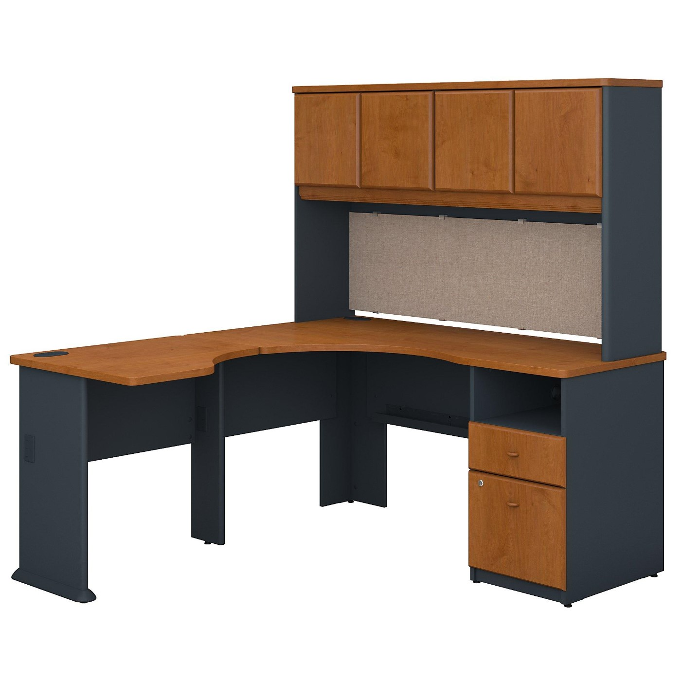 BUSH BUSINESS FURNITURE SERIES A 60W X 65D L SHAPED DESK WITH HUTCH AND 2 DRAWER PEDESTAL. FREE SHIPPING</font></b></font></b>&#x1F384<font color=red><b>ERGONOMICHOME HOLIDAY SALE - ENDS DEC. 17, 2019</b></font>&#x1F384