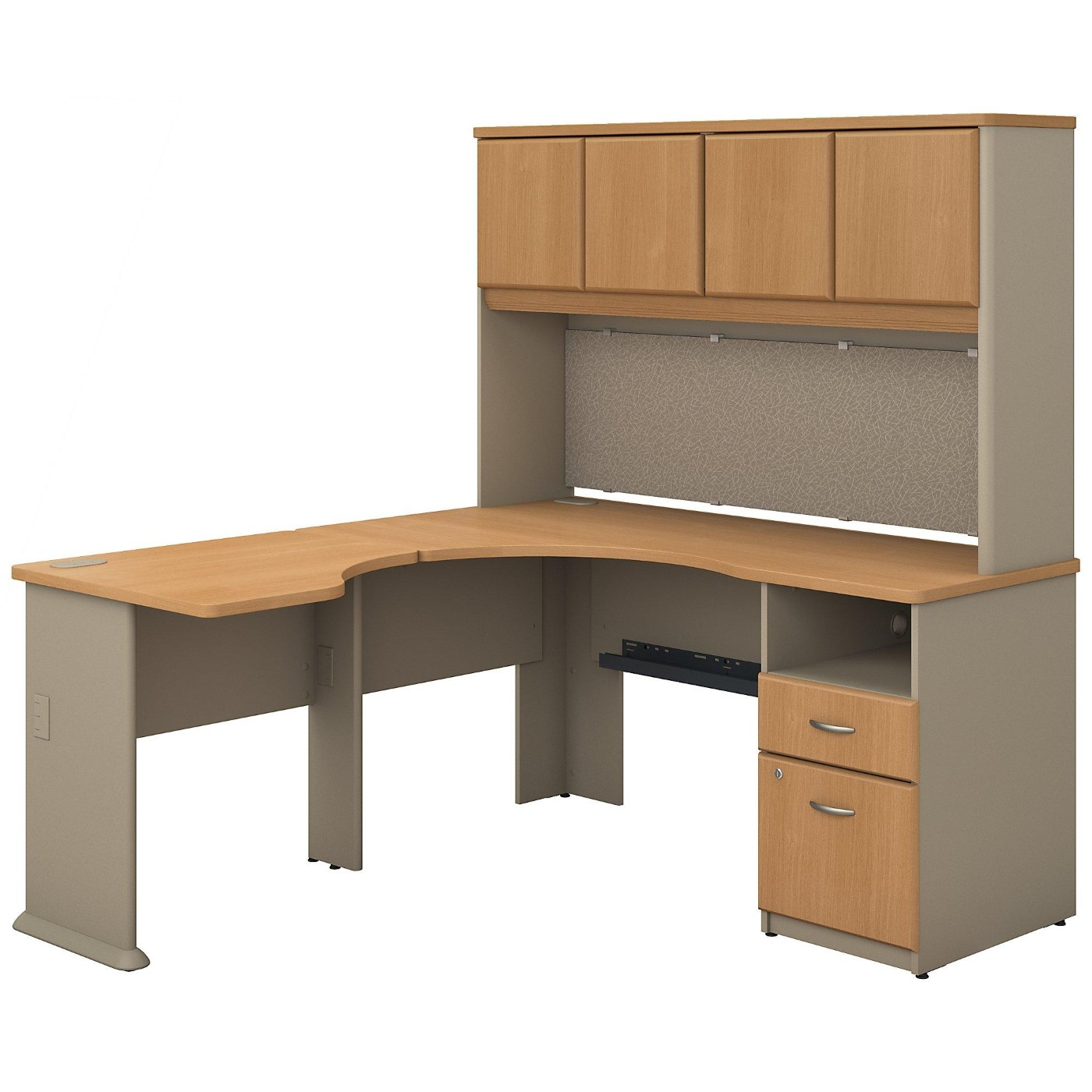 <font color=#c60><b>BUSH BUSINESS FURNITURE SERIES A 60W X 65D L SHAPED DESK WITH HUTCH AND 2 DRAWER PEDESTAL. FREE SHIPPING</font></b>