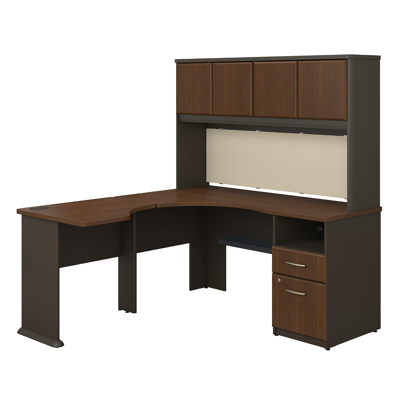 <font color=#c60><b>BUSH BUSINESS FURNITURE SERIES A 60W X 65D L SHAPED DESK WITH HUTCH AND 2 DRAWER PEDESTAL. FREE SHIPPING</font></b></font></b>