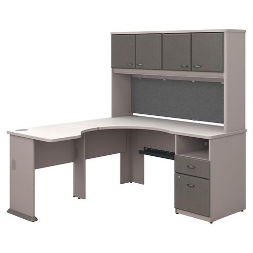 BUSH BUSINESS FURNITURE SERIES A 60W X 65D L SHAPED DESK WITH HUTCH AND 2 DRAWER PEDESTAL. FREE SHIPPING.