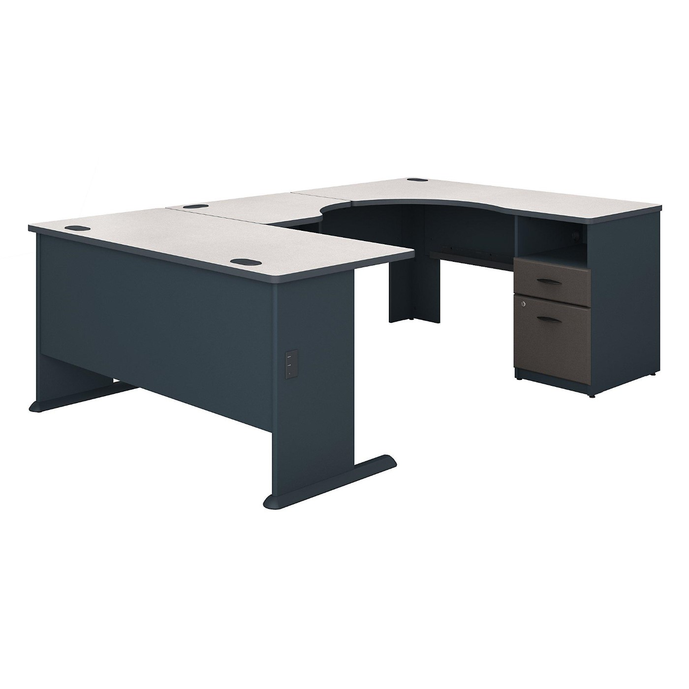 BUSH BUSINESS FURNITURE SERIES A 60W X 93D U SHAPED DESK WITH 2 DRAWER PEDESTAL. FREE SHIPPING.