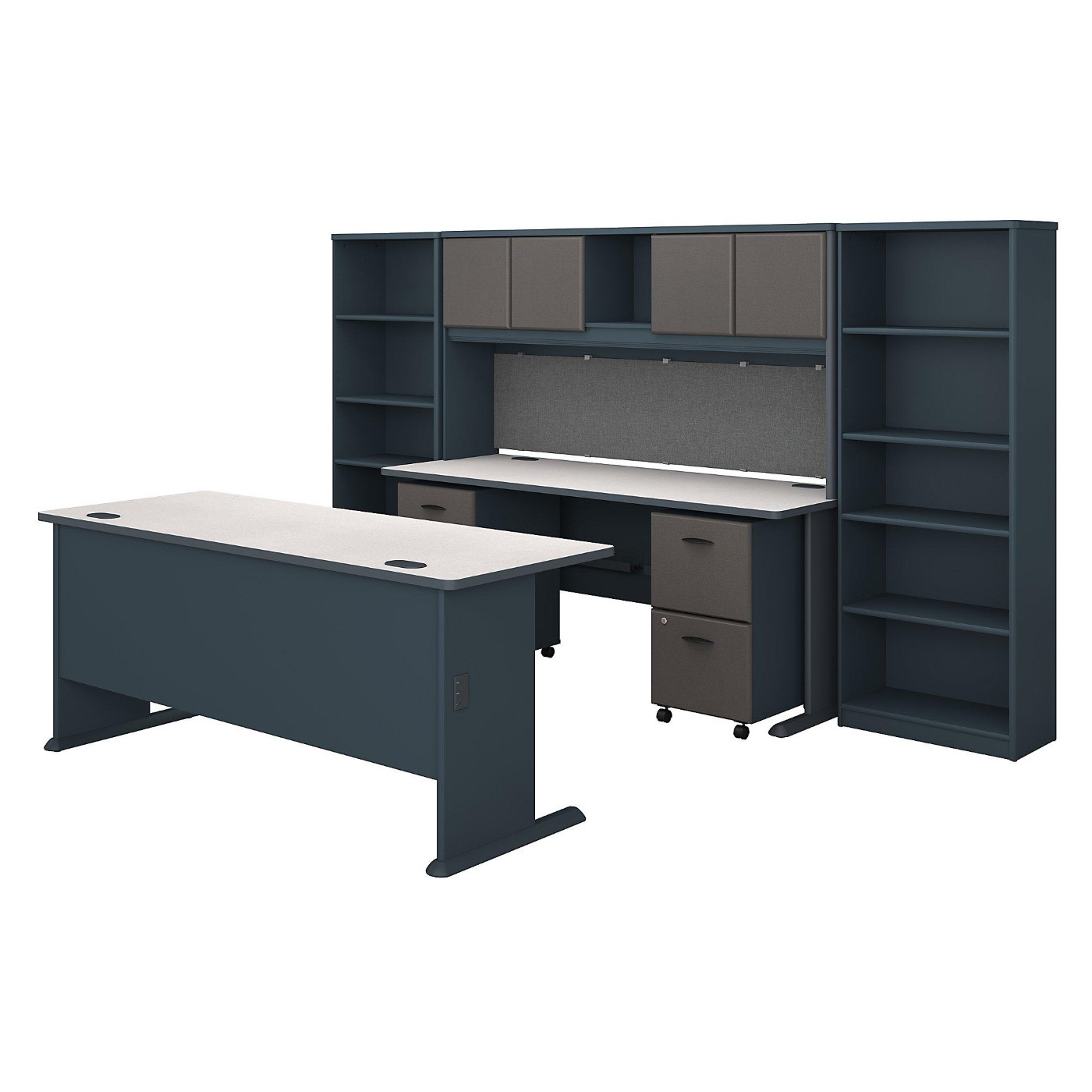 <font color=#c60><b>BUSH BUSINESS FURNITURE SERIES A 72W DESK WITH CREDENZA, HUTCH, BOOKCASES AND STORAGE. FREE SHIPPING</font></b>