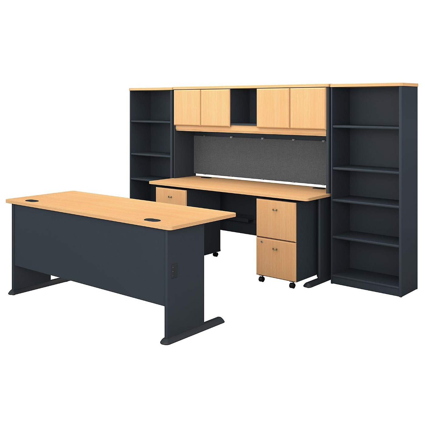 BUSH BUSINESS FURNITURE SERIES A 72W DESK WITH CREDENZA, HUTCH, BOOKCASES AND STORAGE. FREE SHIPPING  VIDEO BELOW.  SALE DEDUCT 10% MORE ENTER '10percent' IN COUPON CODE BOX WHILE CHECKING OUT.