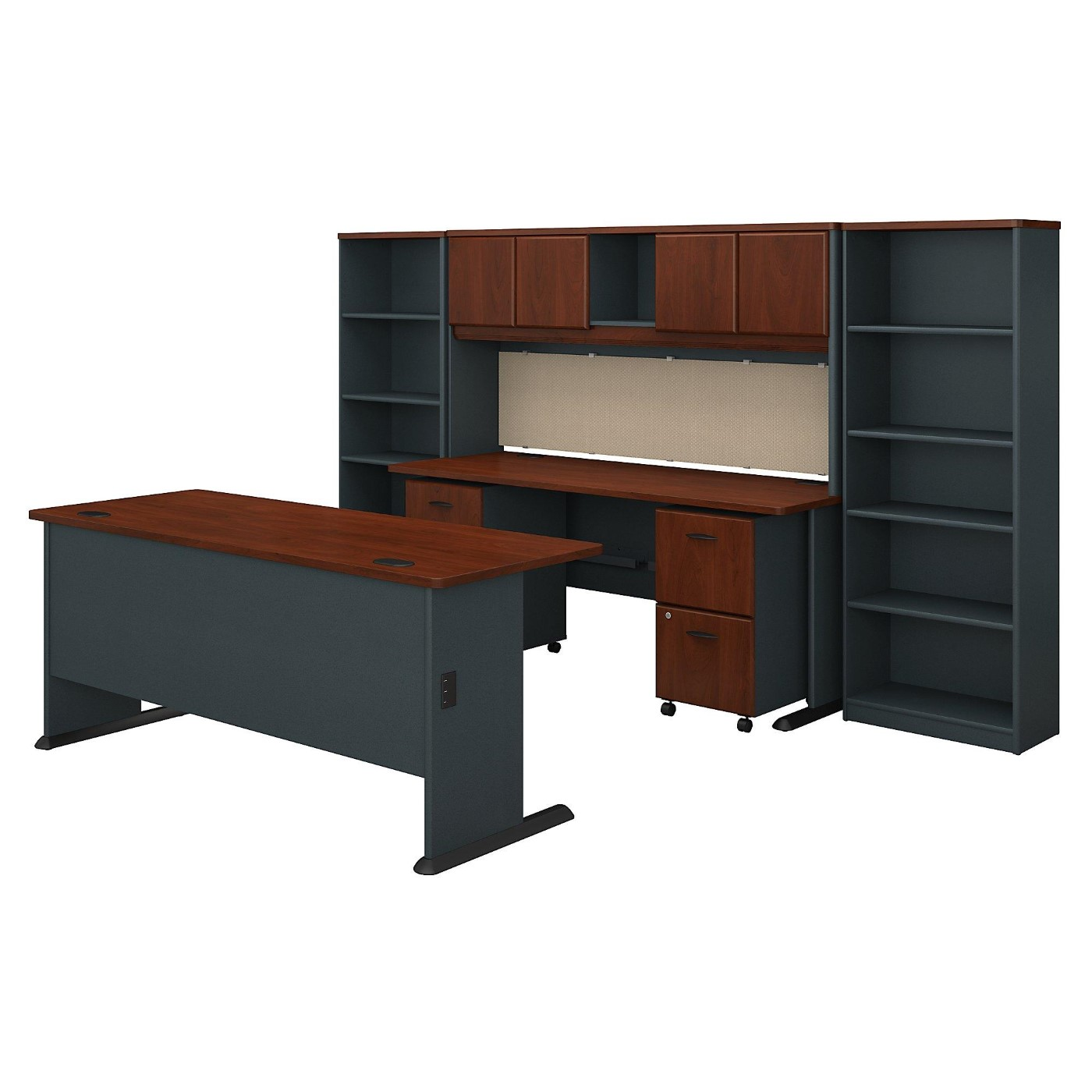 <font color=#c60><b>BUSH BUSINESS FURNITURE SERIES A 72W DESK WITH CREDENZA, HUTCH, BOOKCASES AND STORAGE. FREE SHIPPING</font></b></font>