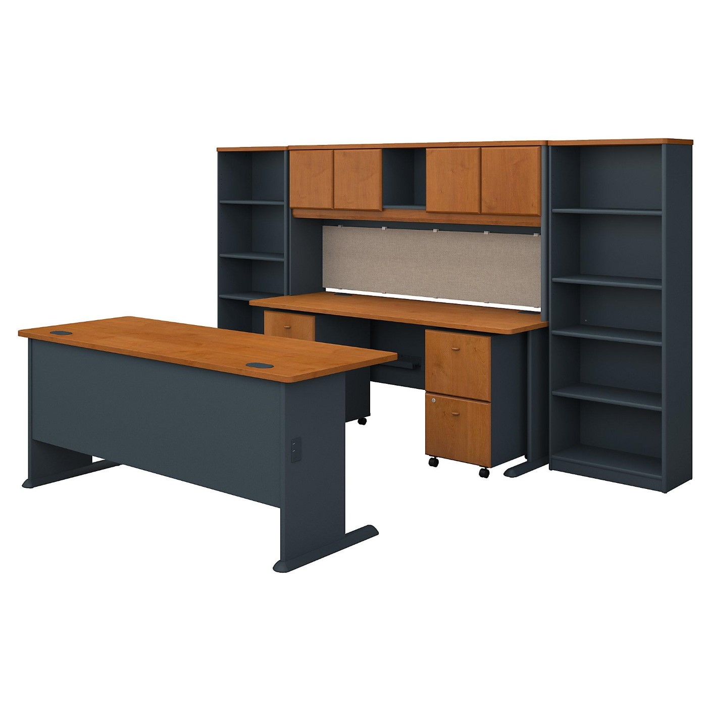 BUSH BUSINESS FURNITURE SERIES A 72W DESK WITH CREDENZA, HUTCH, BOOKCASES AND STORAGE. FREE SHIPPING  VIDEO BELOW.