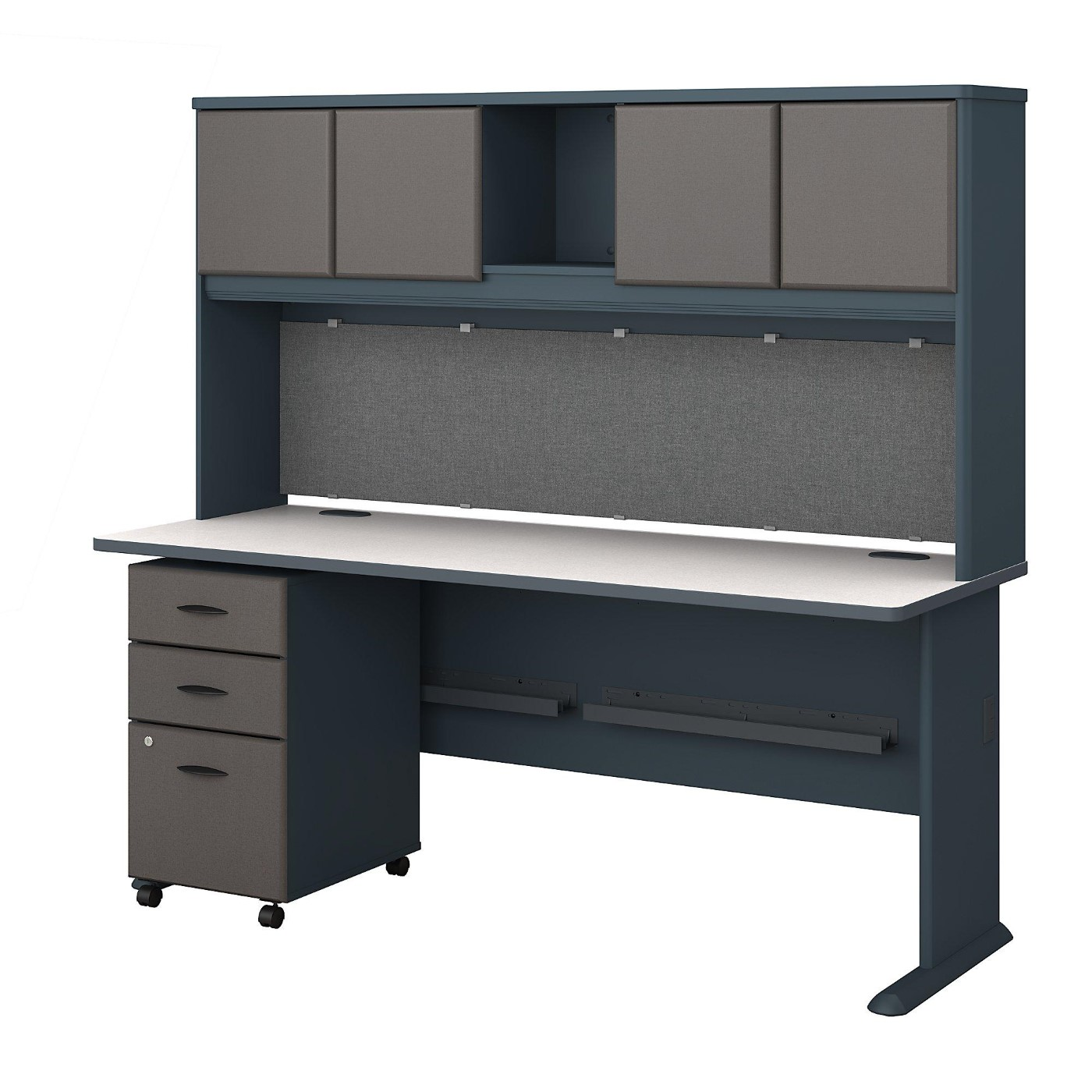 BUSH BUSINESS FURNITURE SERIES A 72W DESK WITH HUTCH AND MOBILE FILE CABINET. FREE SHIPPING.