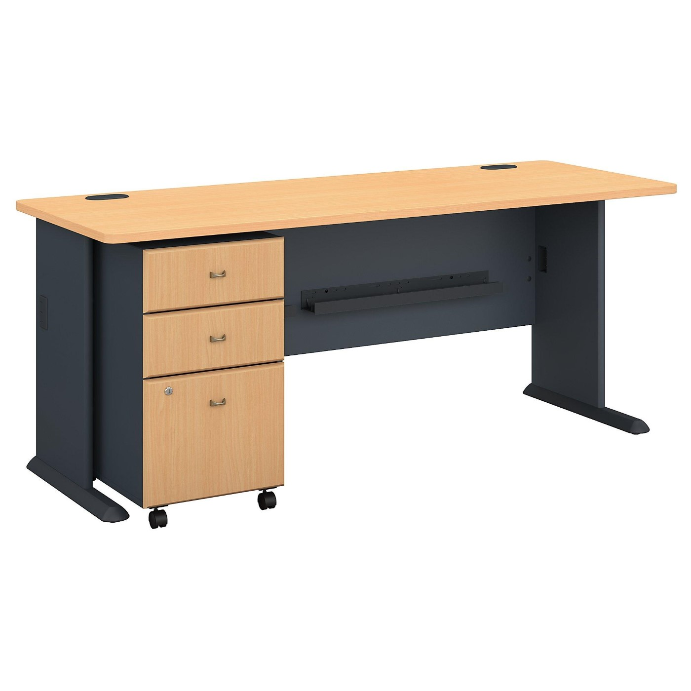 BUSH BUSINESS FURNITURE SERIES A 72W DESK WITH MOBILE FILE CABINET. FREE SHIPPING.