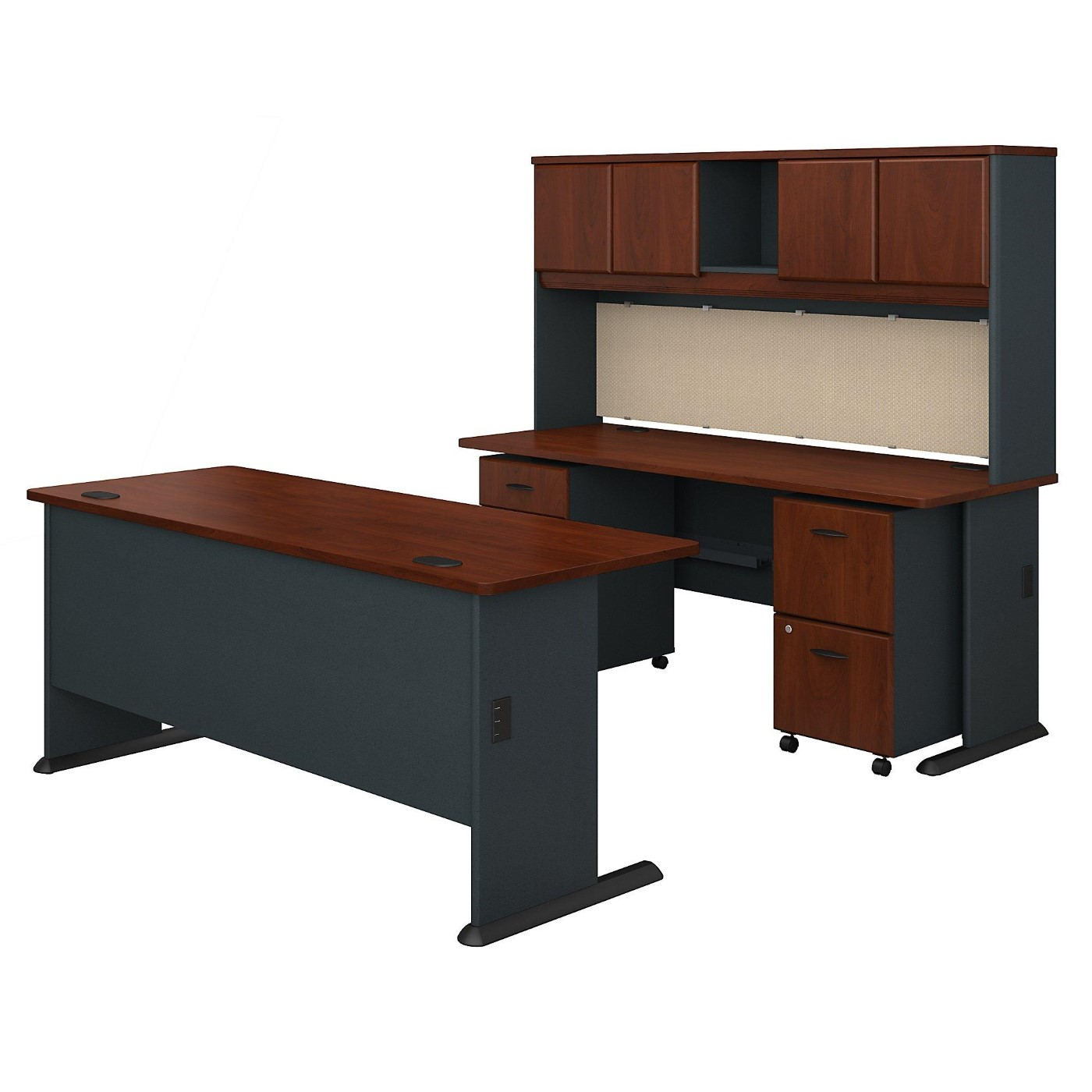 BUSH BUSINESS FURNITURE SERIES A 72W DESKS WITH HUTCH AND MOBILE FILE CABINETS. FREE SHIPPING.