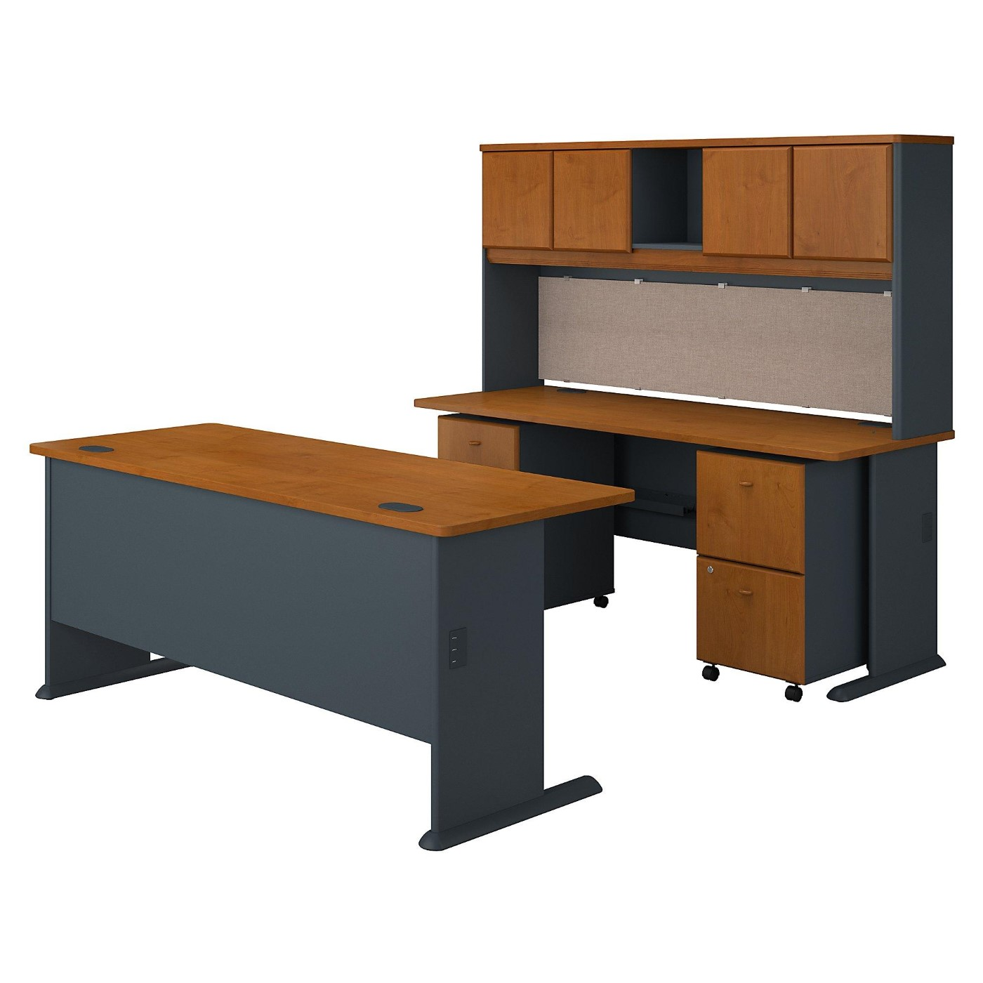 BUSH BUSINESS FURNITURE SERIES A 72W DESKS WITH HUTCH AND MOBILE FILE CABINETS. FREE SHIPPING.  SALE DEDUCT 10% MORE ENTER '10percent' IN COUPON CODE BOX WHILE CHECKING OUT.