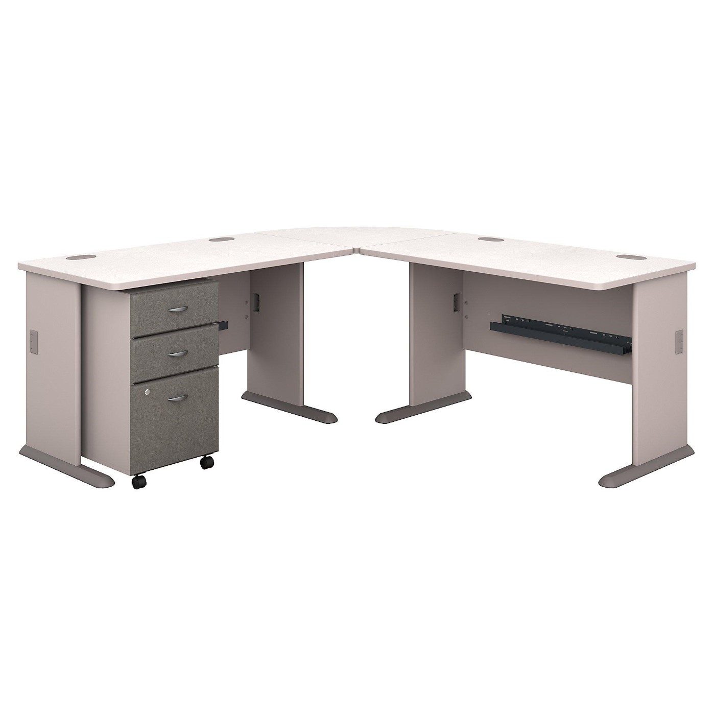 <font color=#c60><b>BUSH BUSINESS FURNITURE SERIES A 75W X 75D L SHAPED DESK WITH MOBILE FILE CABINET. FREE SHIPPING</font></b></font></b>