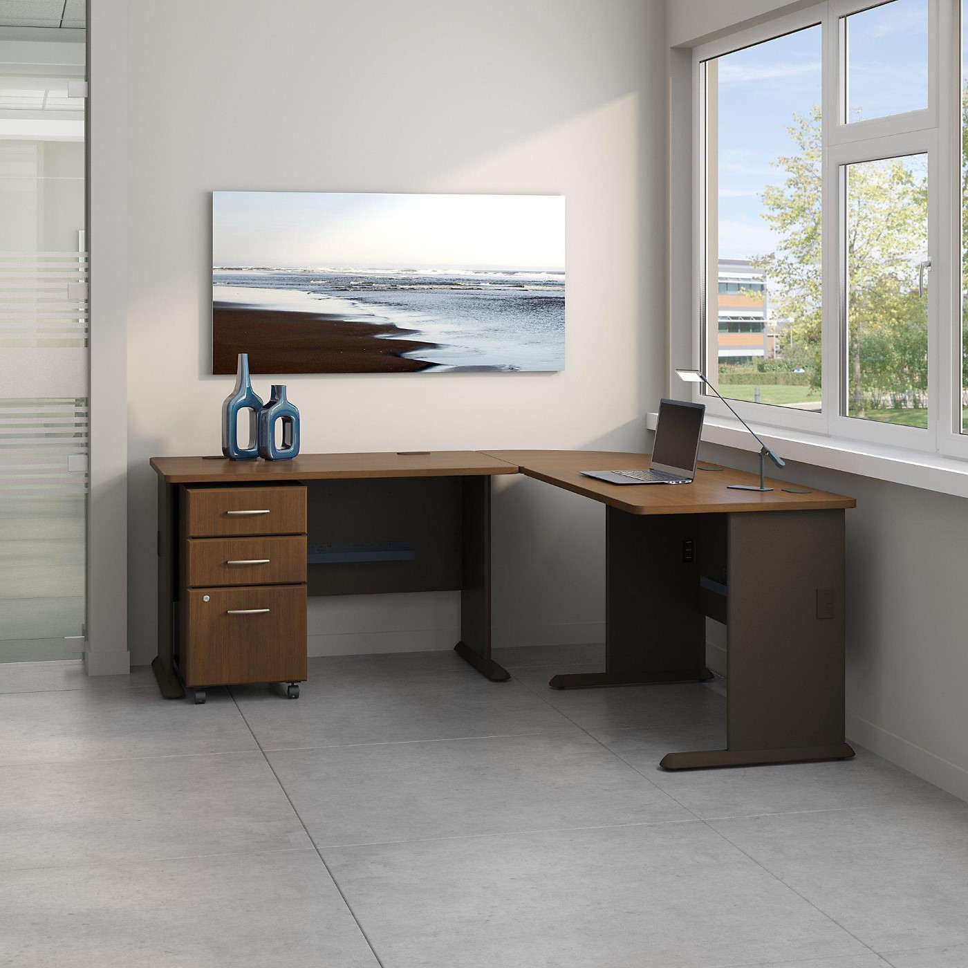 BUSH BUSINESS FURNITURE SERIES A 75W X 75D L SHAPED DESK WITH MOBILE FILE  CABINET.