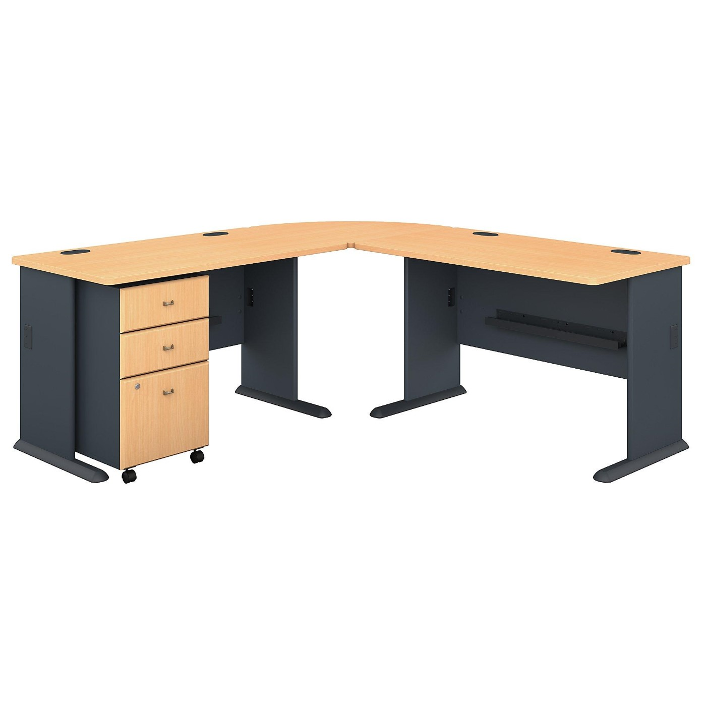 BUSH BUSINESS FURNITURE SERIES A 75W X 75D L SHAPED DESK WITH MOBILE FILE CABINET. FREE SHIPPING.