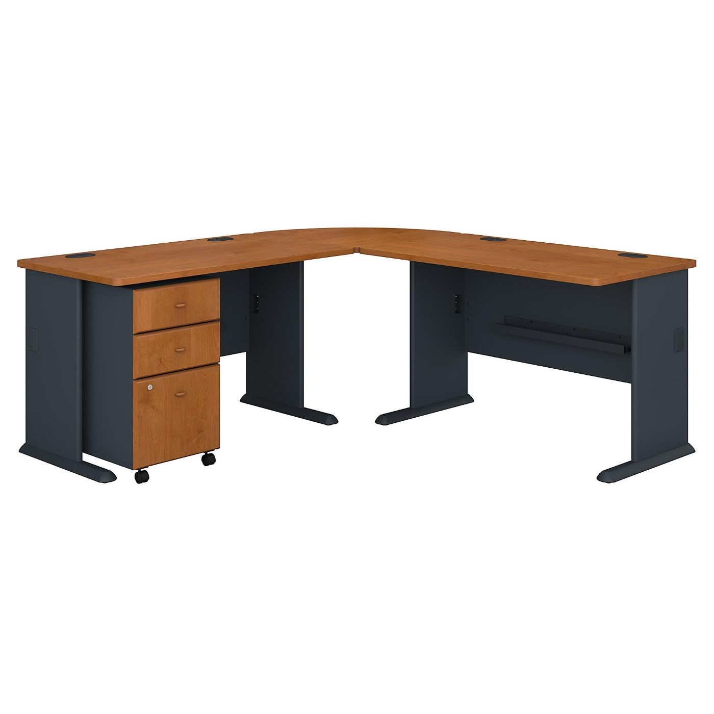 <font color=#c60><b>BUSH BUSINESS FURNITURE SERIES A 75W X 75D L SHAPED DESK WITH MOBILE FILE CABINET. FREE SHIPPING</font></b></font>