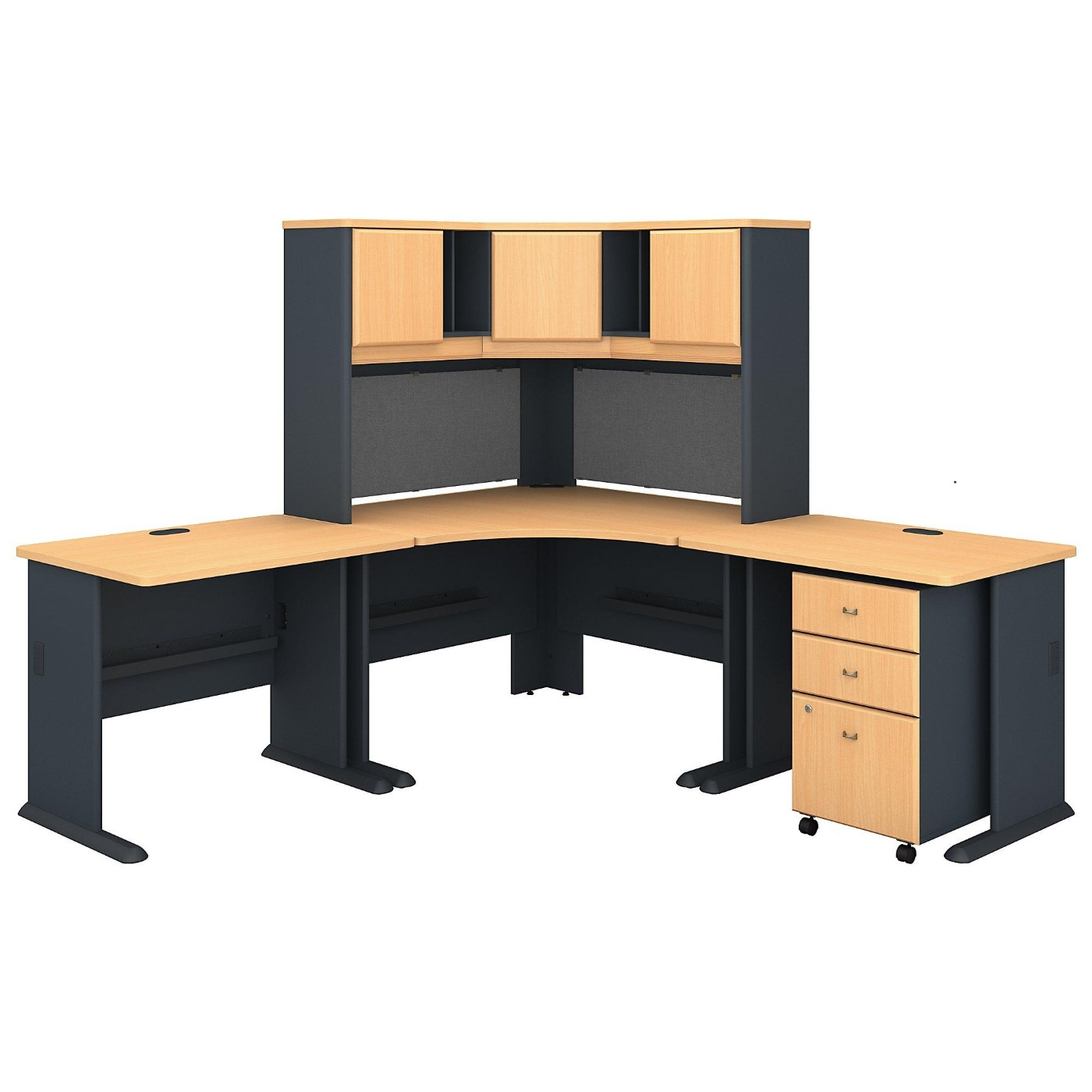 BUSH BUSINESS FURNITURE SERIES A 84W X 84D CORNER DESK WITH HUTCH AND MOBILE FILE CABINET #EH-SRA061BESU. SUSTAINABLE FURNITURE. FREE SHIPPING