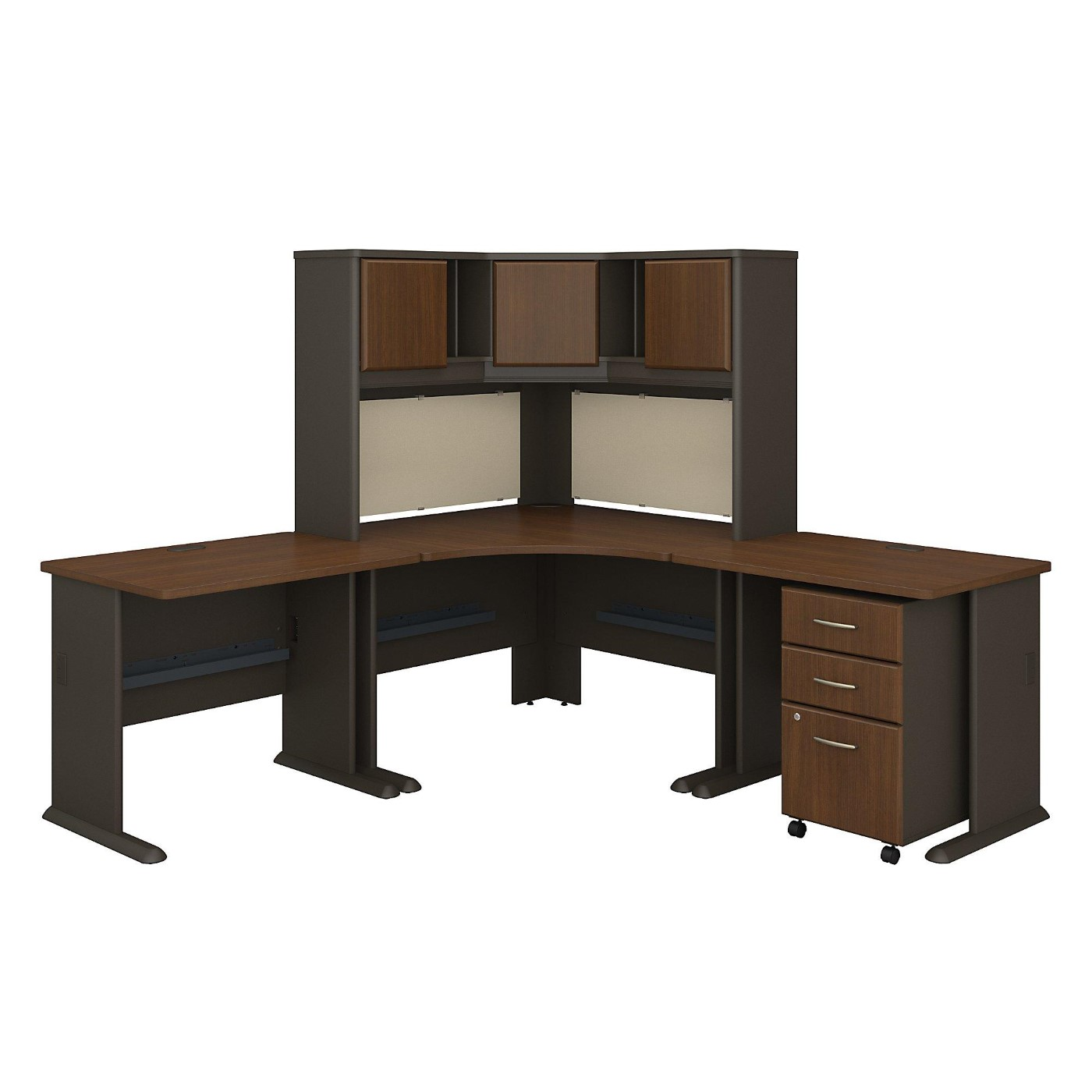<font color=#c60><b>BUSH BUSINESS FURNITURE SERIES A 84W X 84D CORNER DESK WITH HUTCH AND MOBILE FILE CABINET. FREE SHIPPING</font></b>