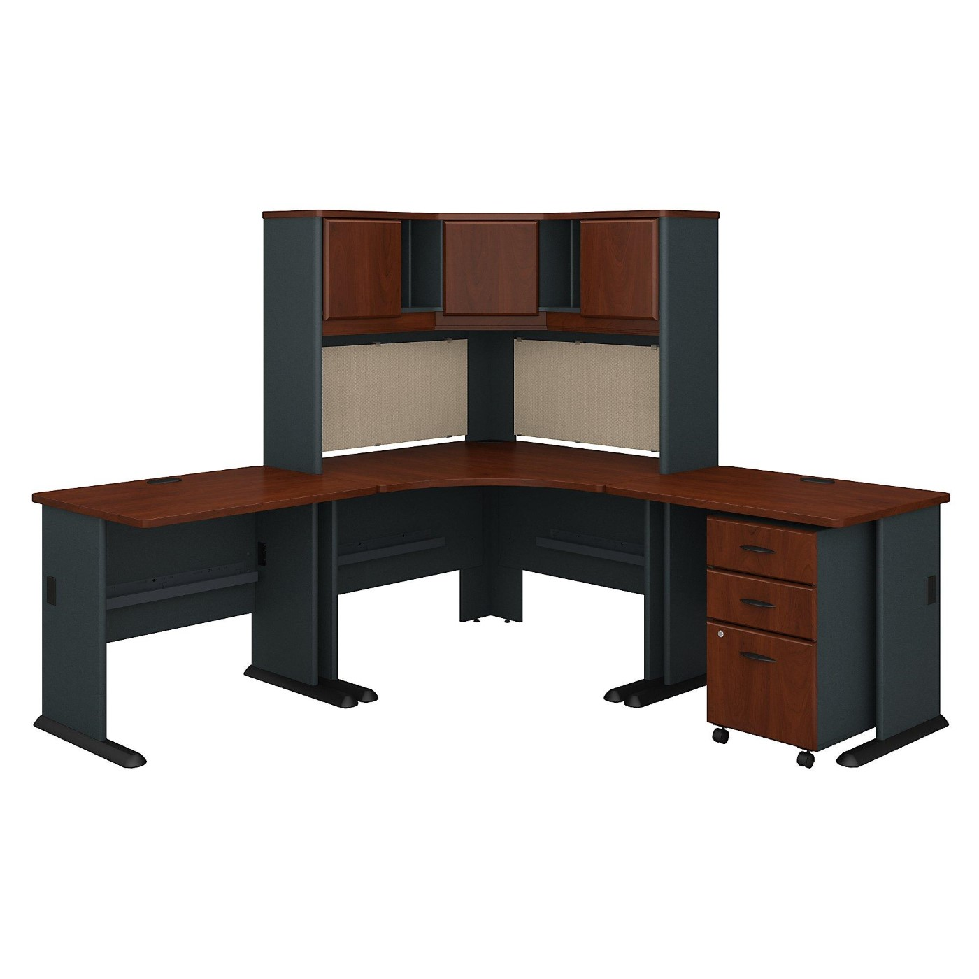 BUSH BUSINESS FURNITURE SERIES A 84W X 84D CORNER DESK WITH HUTCH AND MOBILE FILE CABINET. ADD TO CART TO GET FREE SHIPPING: /font>