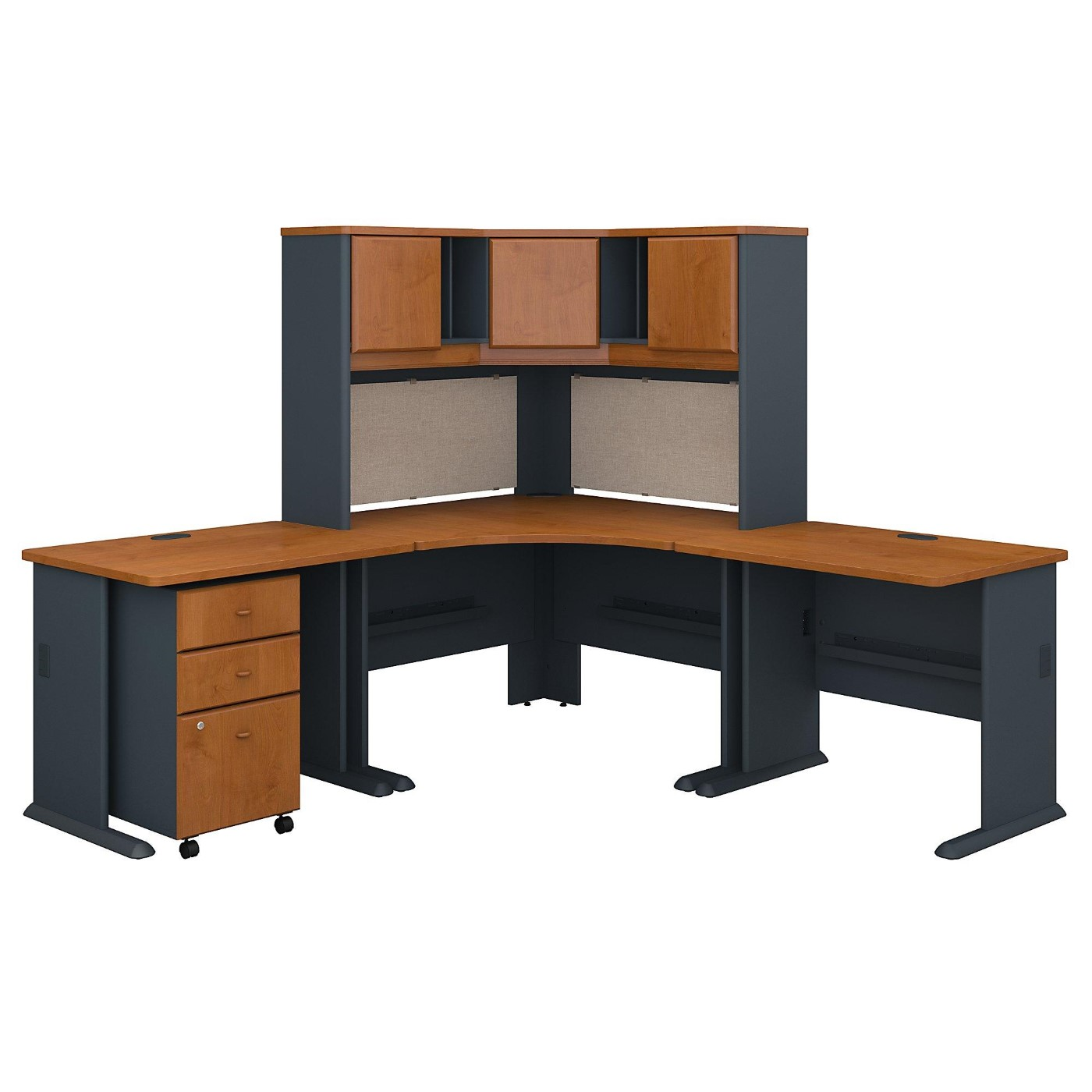 BUSH BUSINESS FURNITURE SERIES A 84W X 84D CORNER DESK WITH HUTCH AND MOBILE FILE CABINET. FREE SHIPPING.