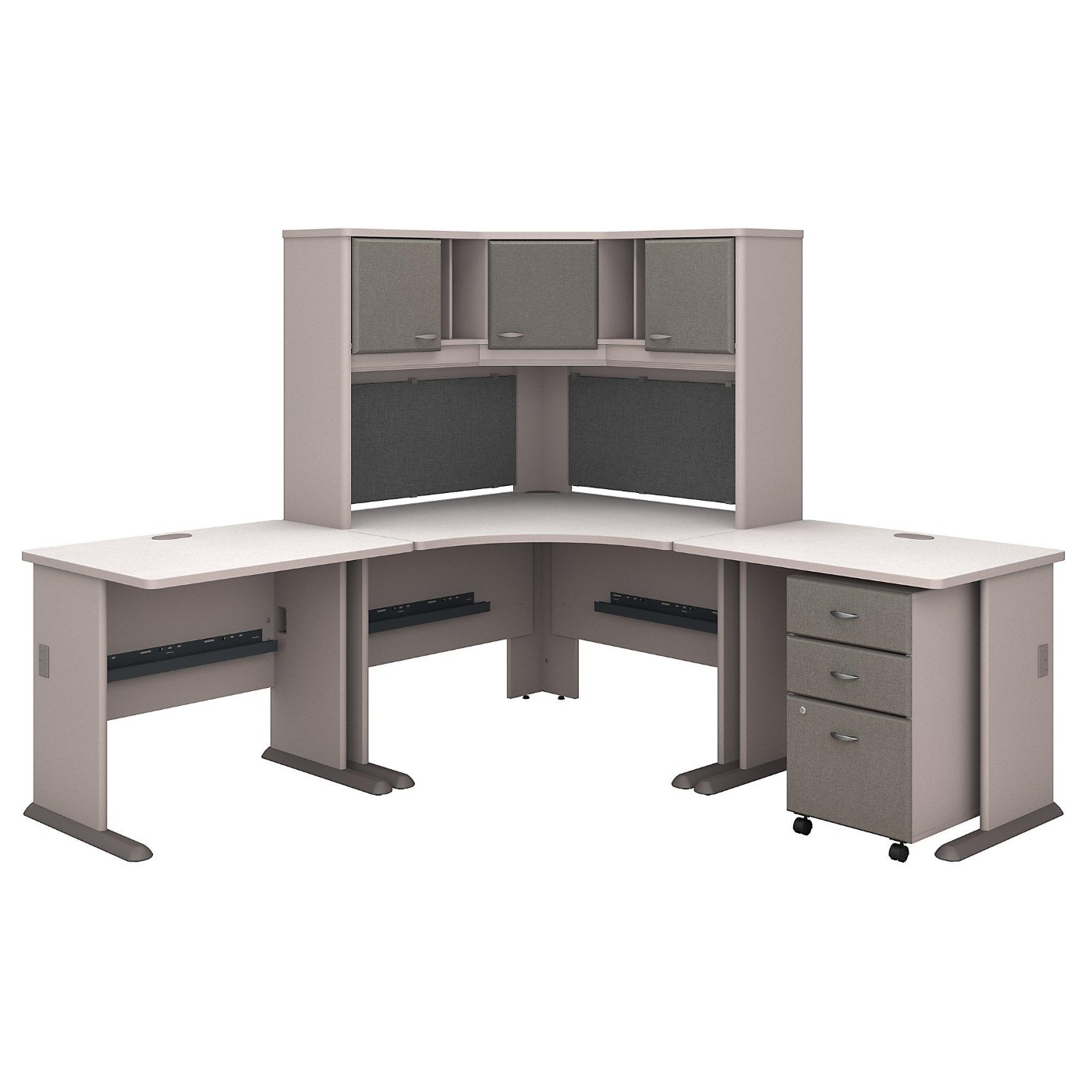 BUSH BUSINESS FURNITURE SERIES A 84W X 84D CORNER DESK WITH HUTCH AND MOBILE FILE CABINET. FREE SHIPPING: SALE DEDUCT 10% MORE ENTER '10percent' IN COUPON CODE BOX WHILE CHECKING OUT.