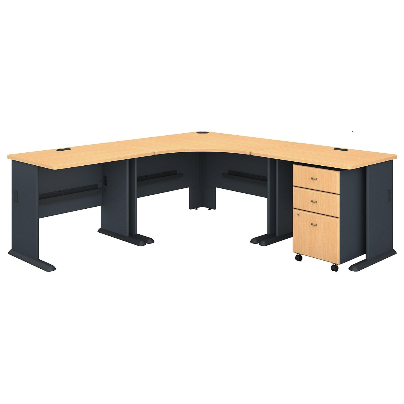 <font color=#c60><b>BUSH BUSINESS FURNITURE SERIES A 84W X 84D CORNER DESK WITH MOBILE FILE CABINET. FREE SHIPPING</font></b>