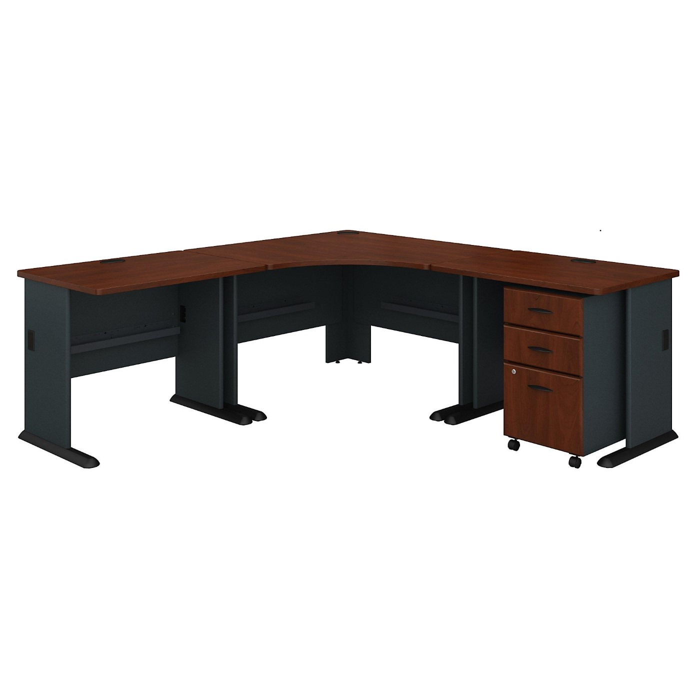 BUSH BUSINESS FURNITURE SERIES A 84W X 84D CORNER DESK WITH MOBILE FILE CABINET. FREE SHIPPING.