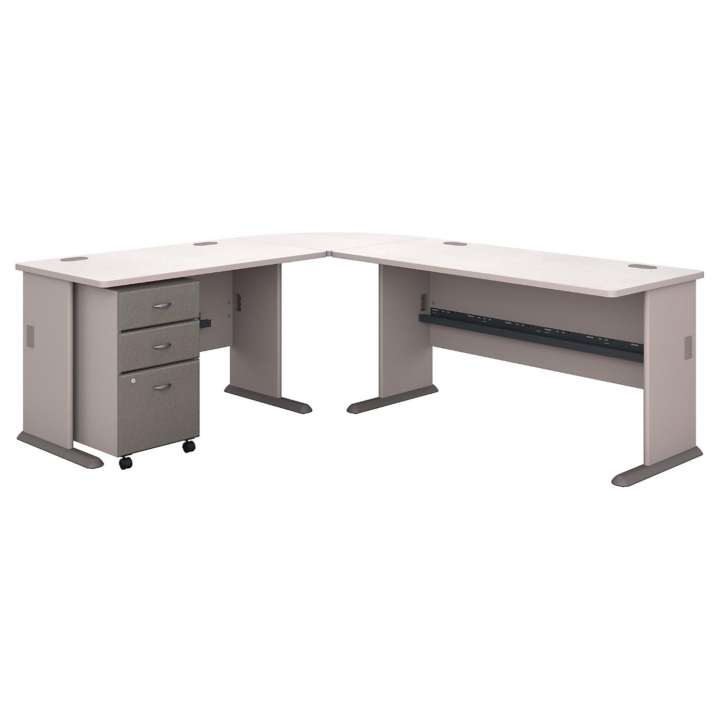 <font color=#c60><b>BUSH BUSINESS FURNITURE SERIES A 87W X 75D L SHAPED DESK WITH MOBILE FILE CABINET. FREE SHIPPING</font></b>