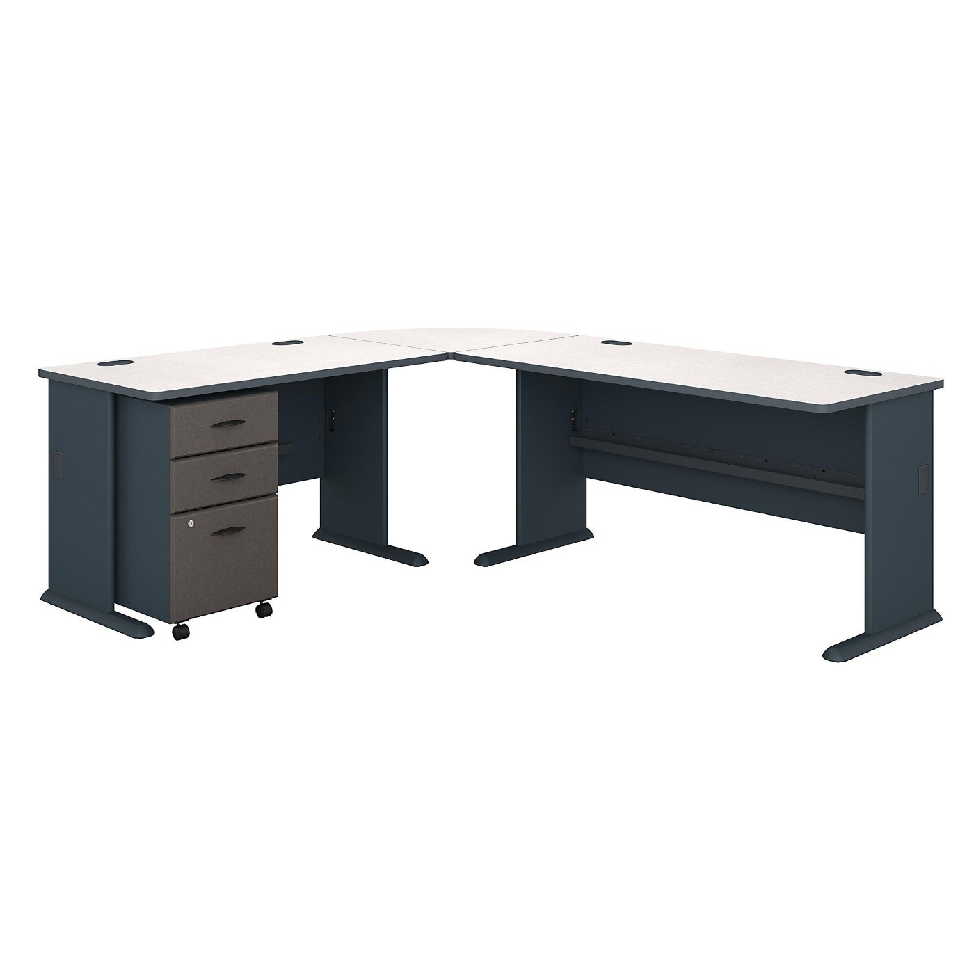 BUSH BUSINESS FURNITURE SERIES A 87W X 75D L SHAPED DESK WITH MOBILE FILE CABINET. FREE SHIPPING.