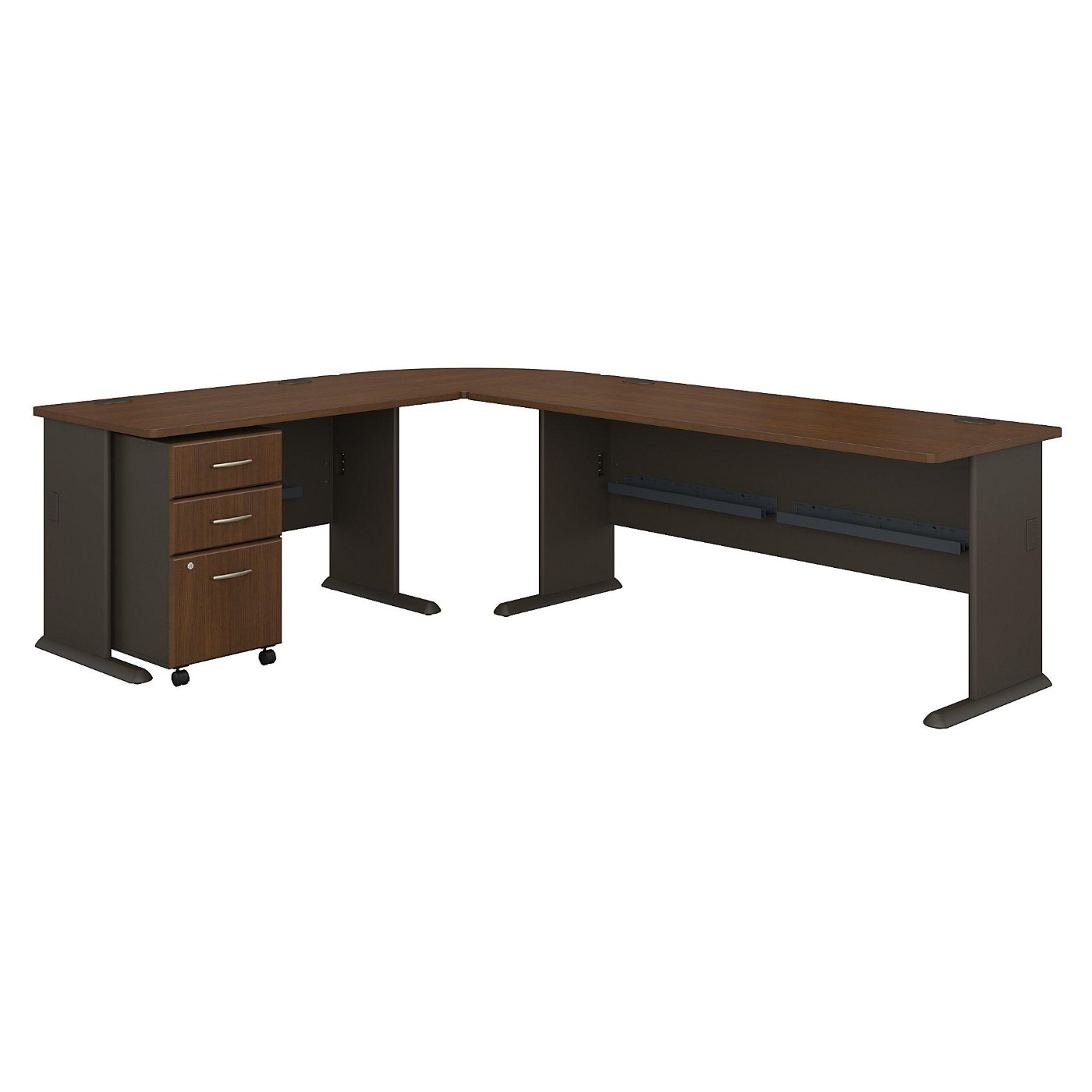 <font color=#c60><b>BUSH BUSINESS FURNITURE SERIES A 99W X 75D L SHAPED DESK WITH MOBILE FILE CABINET. FREE SHIPPING</font></b>