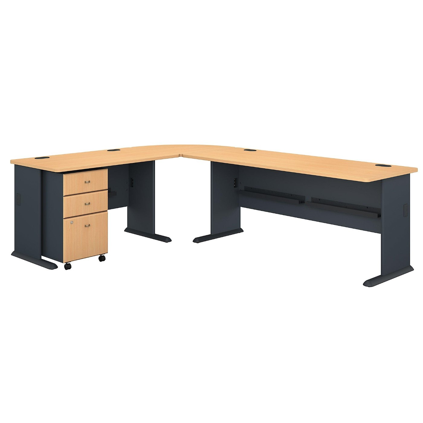 BUSH BUSINESS FURNITURE SERIES A 99W X 75D L SHAPED DESK WITH MOBILE FILE CABINET. FREE SHIPPING</font></b></font></b>&#x1F384<font color=red><b>ERGONOMICHOME HOLIDAY SALE - ENDS DEC. 17, 2019</b></font>&#x1F384