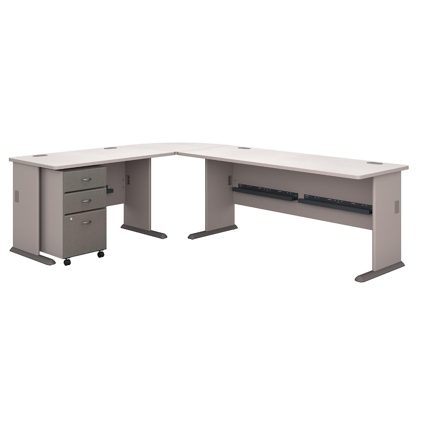 BUSH BUSINESS FURNITURE SERIES A 99W X 75D L SHAPED DESK WITH MOBILE FILE CABINET. FREE SHIPPING.