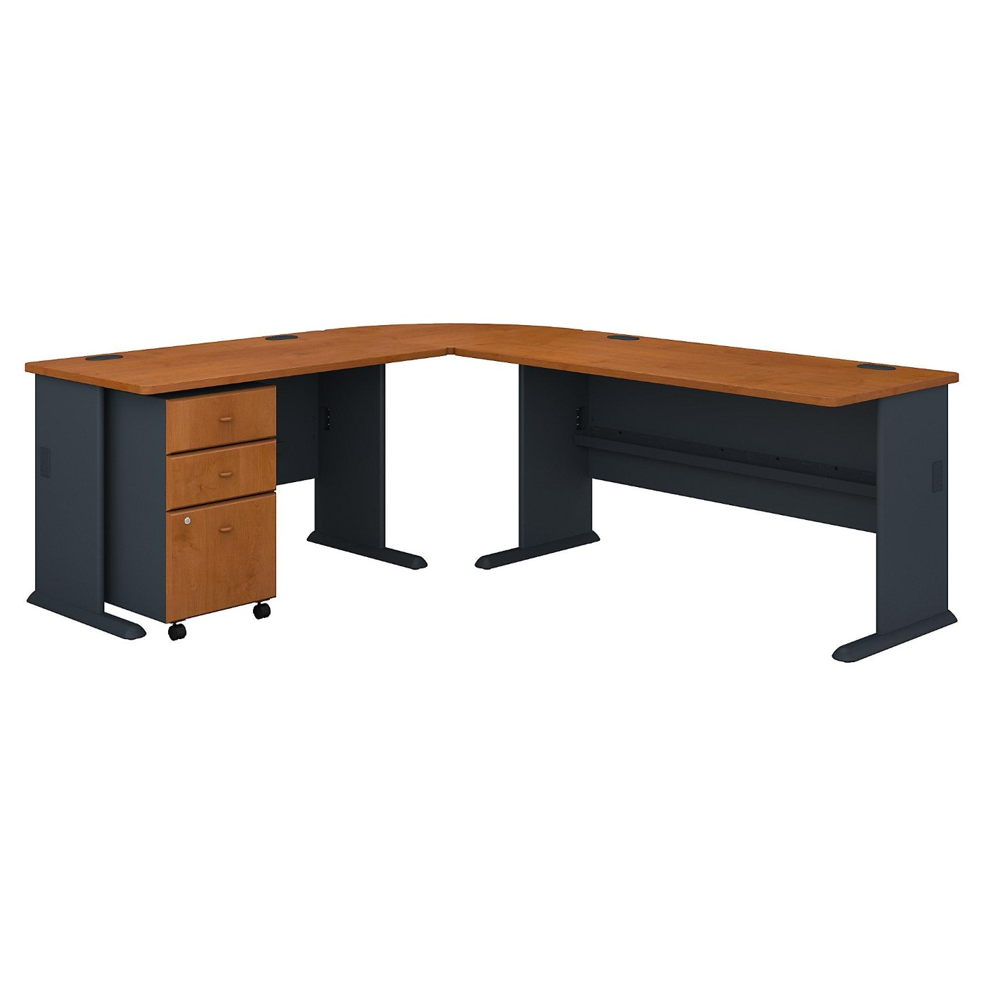 <font color=#c60><b>BUSH BUSINESS FURNITURE SERIES A 99W X 75D L SHAPED DESK WITH MOBILE FILE CABINET. FREE SHIPPING</font></b></font>
