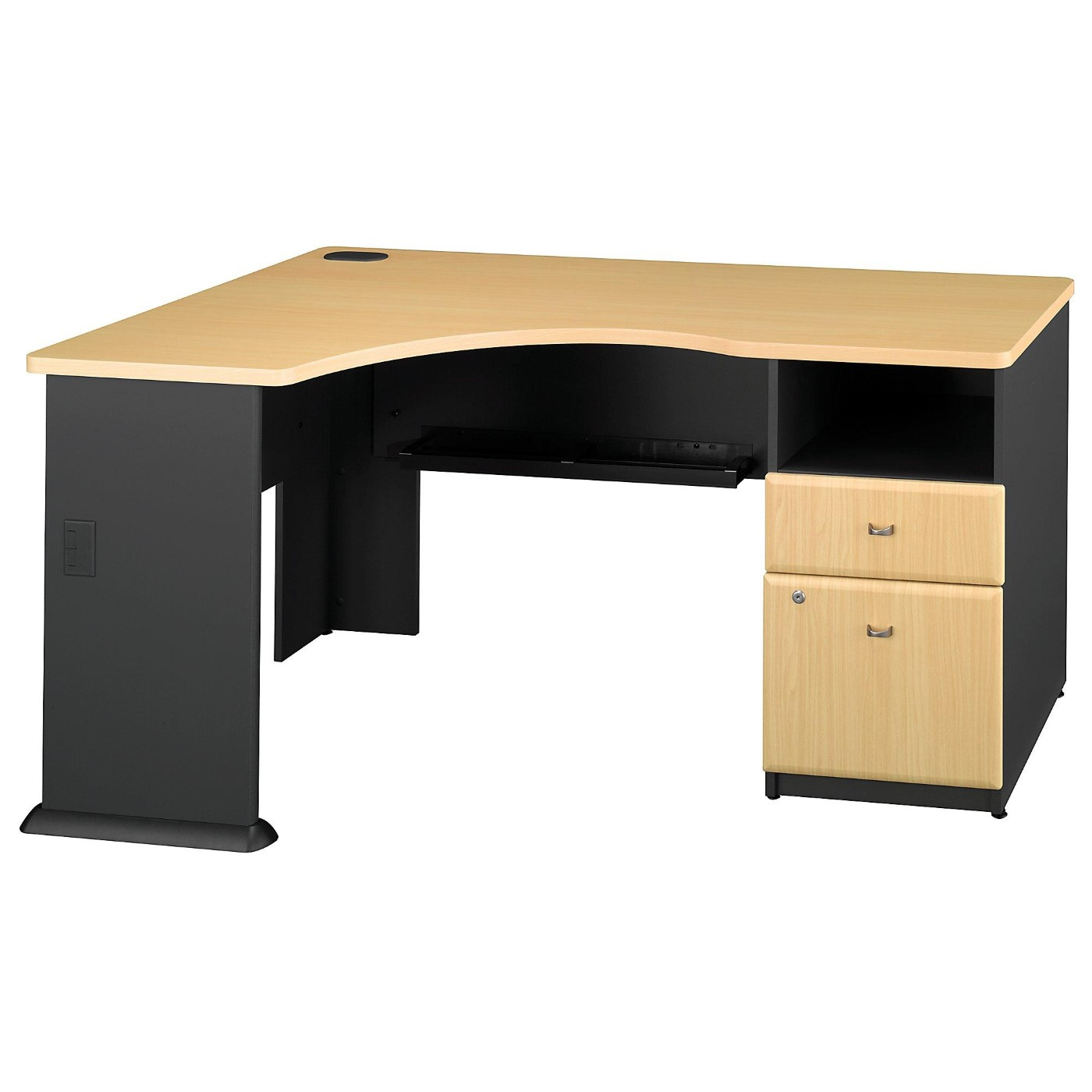BUSH BUSINESS FURNITURE SERIES A CORNER DESK WITH 2 DRAWER PEDESTAL. FREE SHIPPING.