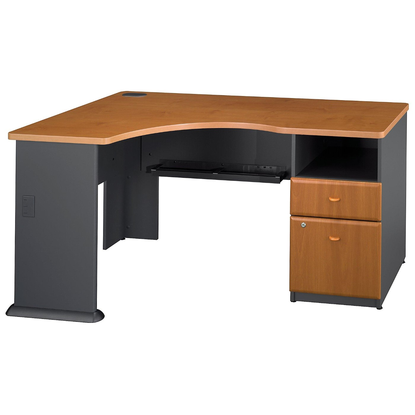 BUSH BUSINESS FURNITURE SERIES A CORNER DESK WITH 2 DRAWER PEDESTAL. FREE SHIPPING  VIDEO BELOW.