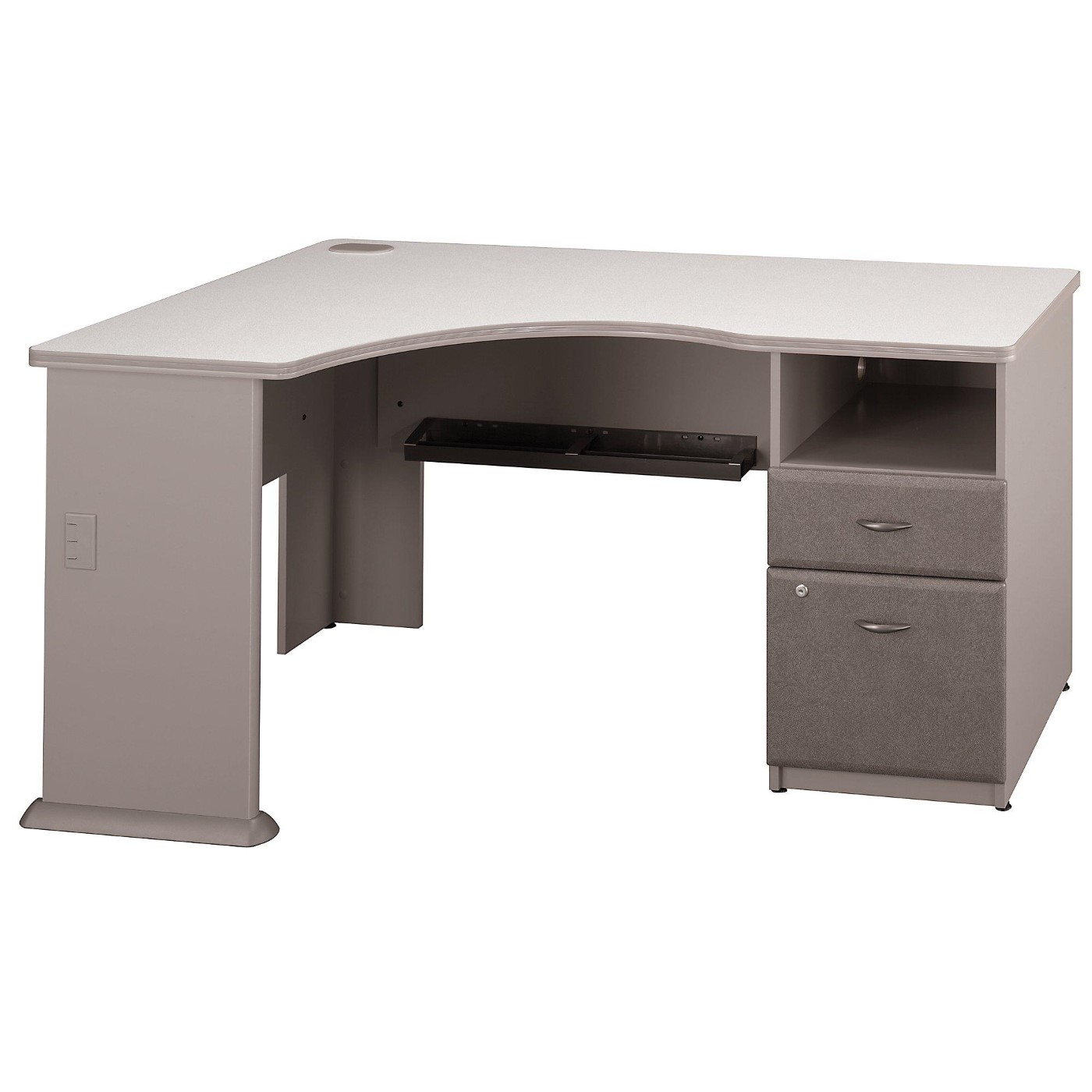 <font color=#c60><b>BUSH BUSINESS FURNITURE SERIES A CORNER DESK WITH 2 DRAWER PEDESTAL. FREE SHIPPING</font></b>