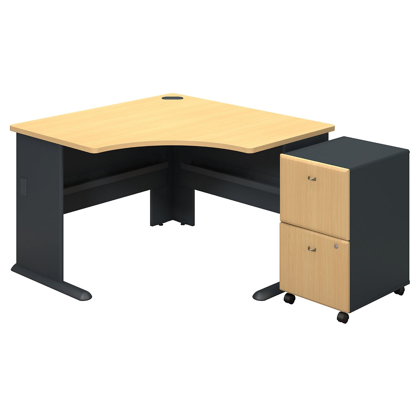 BUSH BUSINESS FURNITURE SERIES A CORNER DESK WITH 2DWR MOBILE PEDESTAL. FREE SHIPPING SALE DEDUCT 10% MORE ENTER '10percent' IN COUPON CODE BOX WHILE CHECKING OUT.