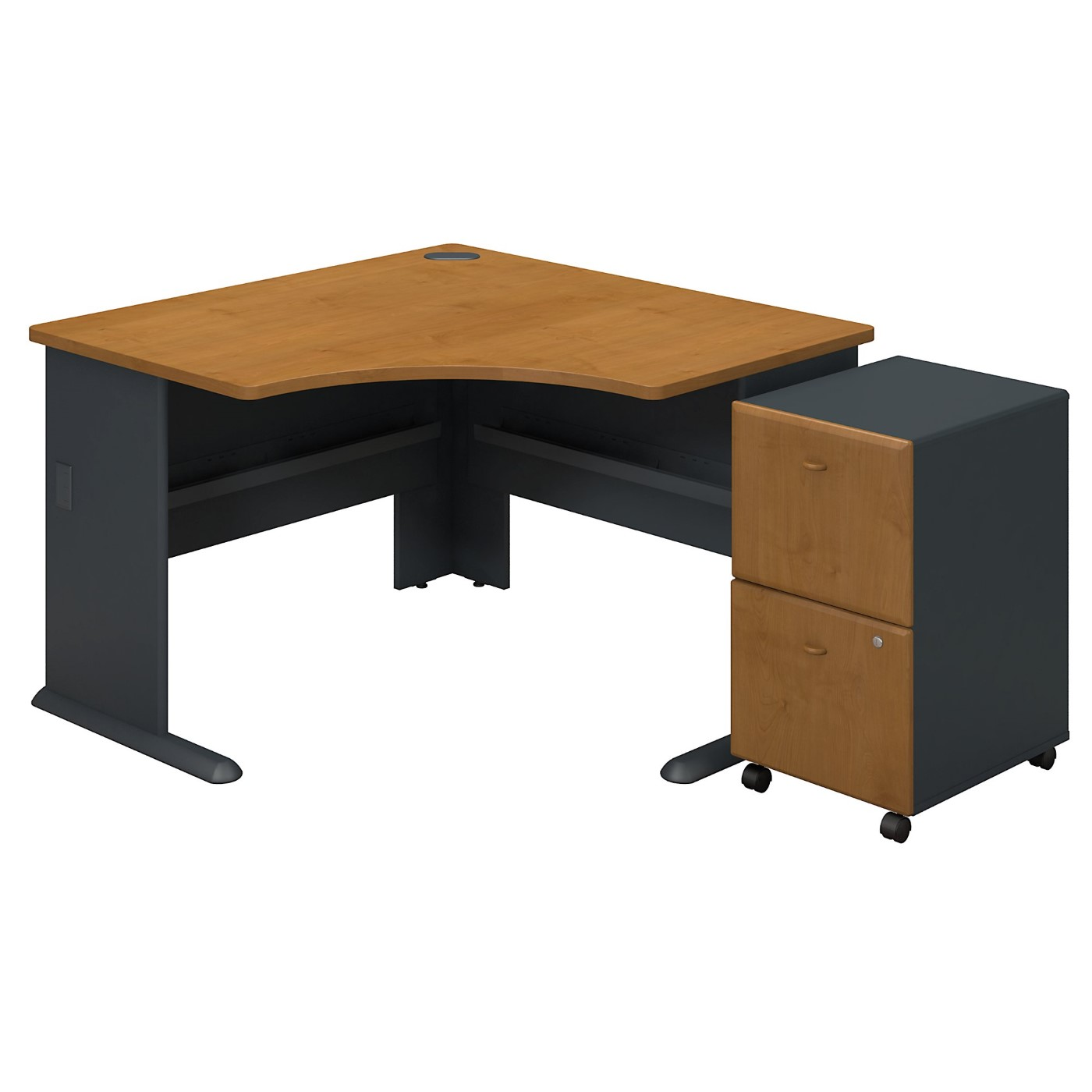 BUSH BUSINESS FURNITURE SERIES A CORNER DESK WITH 2DWR MOBILE PEDESTAL. FREE SHIPPING
