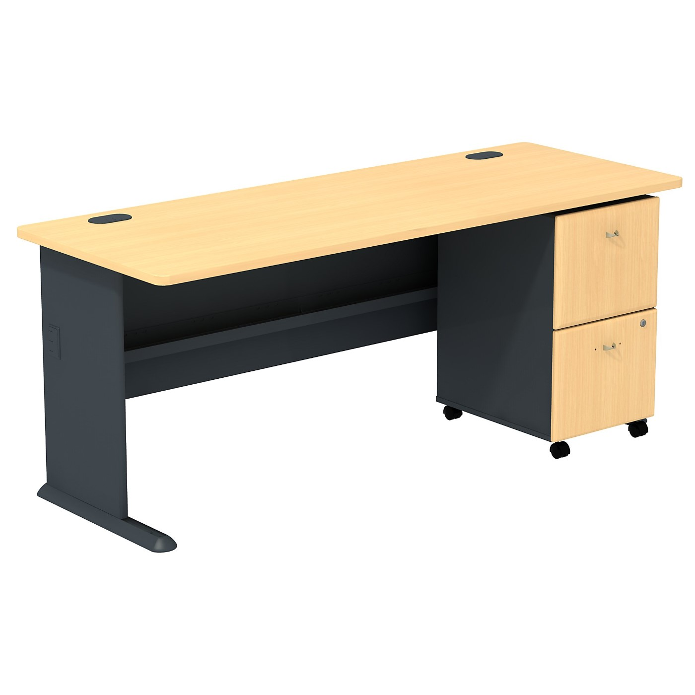 BUSH BUSINESS FURNITURE SERIES A DESK WITH 2 DRAWER MOBILE PEDESTAL. FREE SHIPPING SALE DEDUCT 10% MORE ENTER '10percent' IN COUPON CODE BOX WHILE CHECKING OUT.