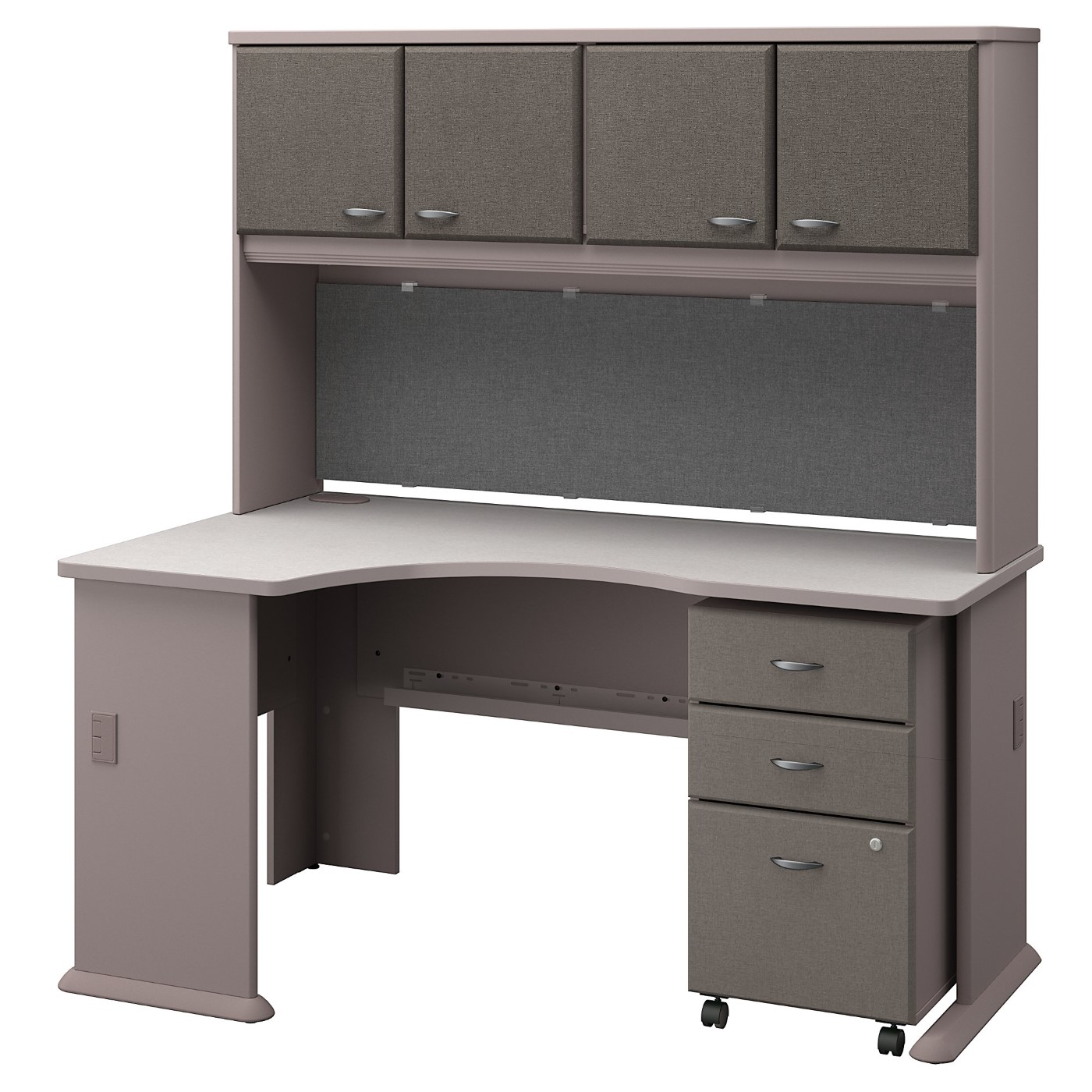 BUSH BUSINESS FURNITURE SERIES A LEFT CORNER DESK WITH HUTCH AND MOBILE FILE CABINET. FREE SHIPPING SALE DEDUCT 10% MORE ENTER '10percent' IN COUPON CODE BOX WHILE CHECKING OUT.